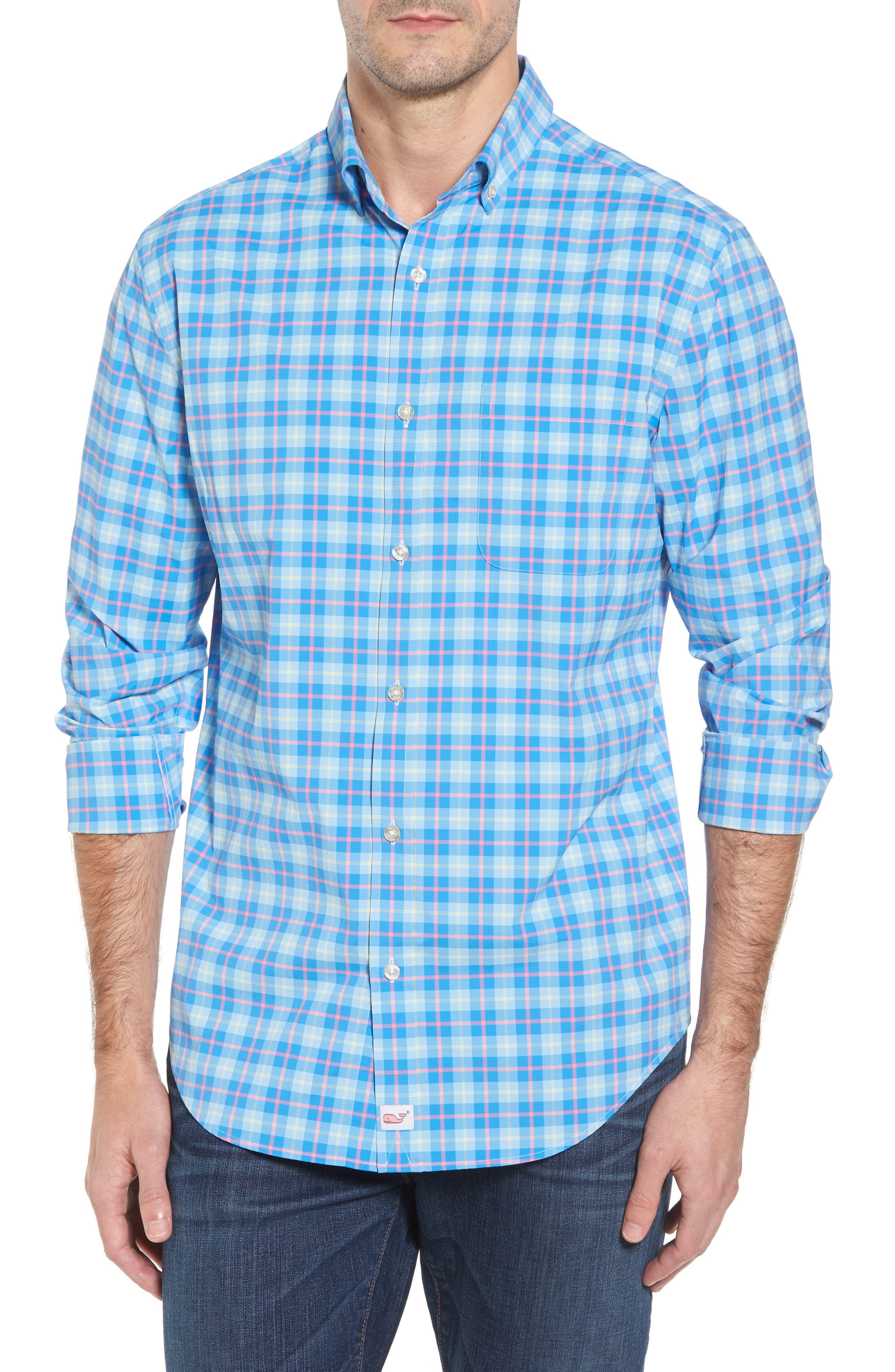 Alternate Image 1 Selected - vineyard vines Blue Heron Classic Fit Plaid Sport Shirt