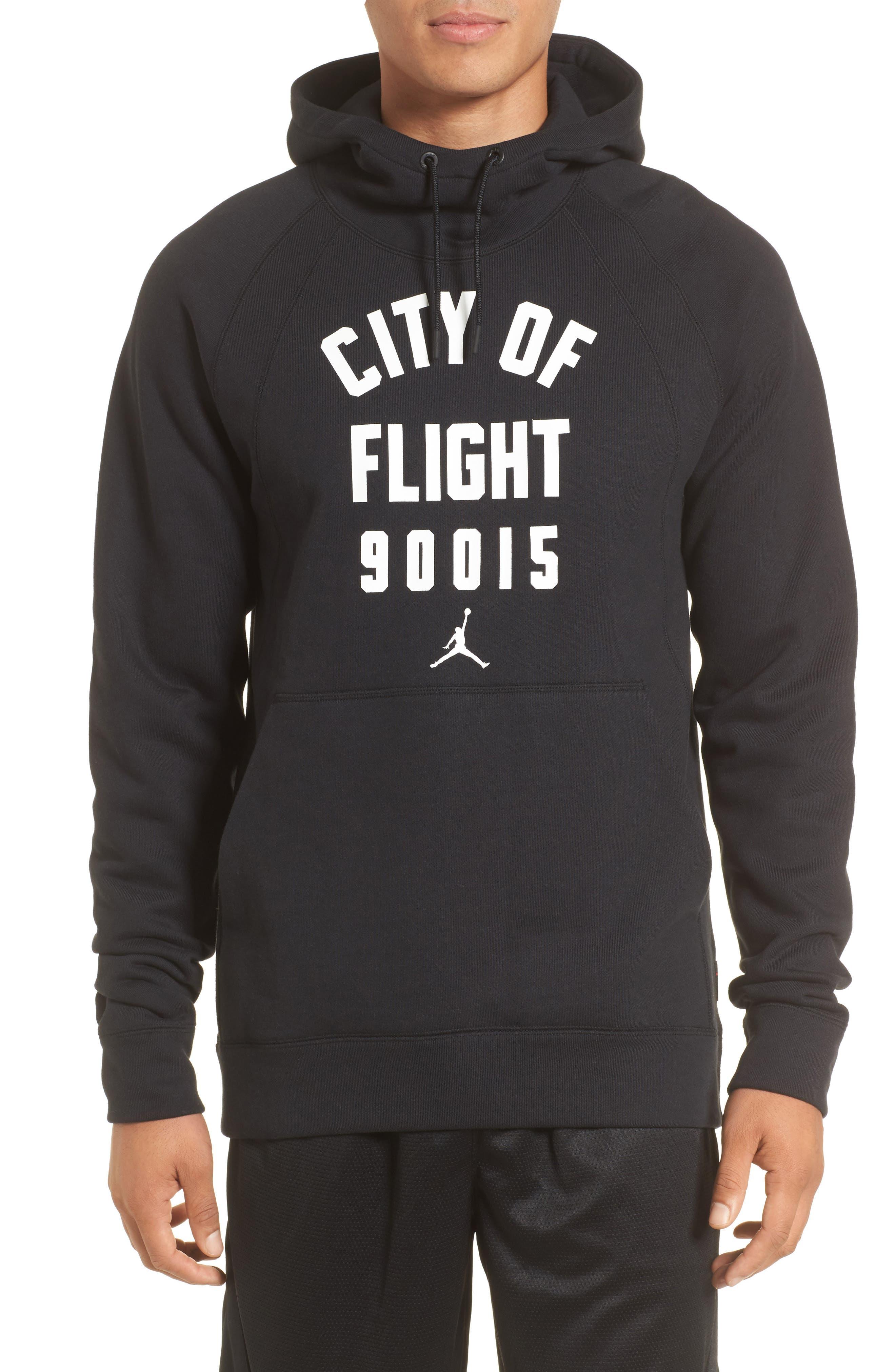 Wings City of Flight Fleece Hoodie,                         Main,                         color, Black/ White/ La
