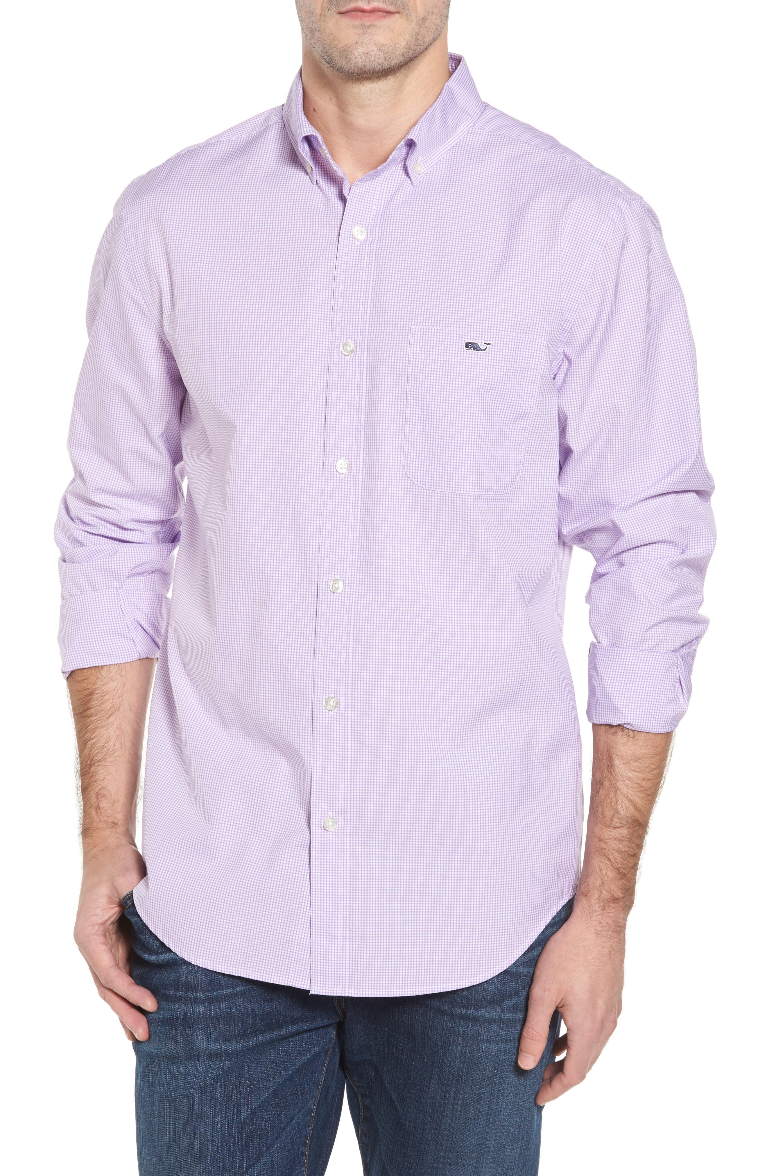 Seaboard Classic Fit Gingham Sport Shirt,                             Main thumbnail 1, color,                             Sea Urchin