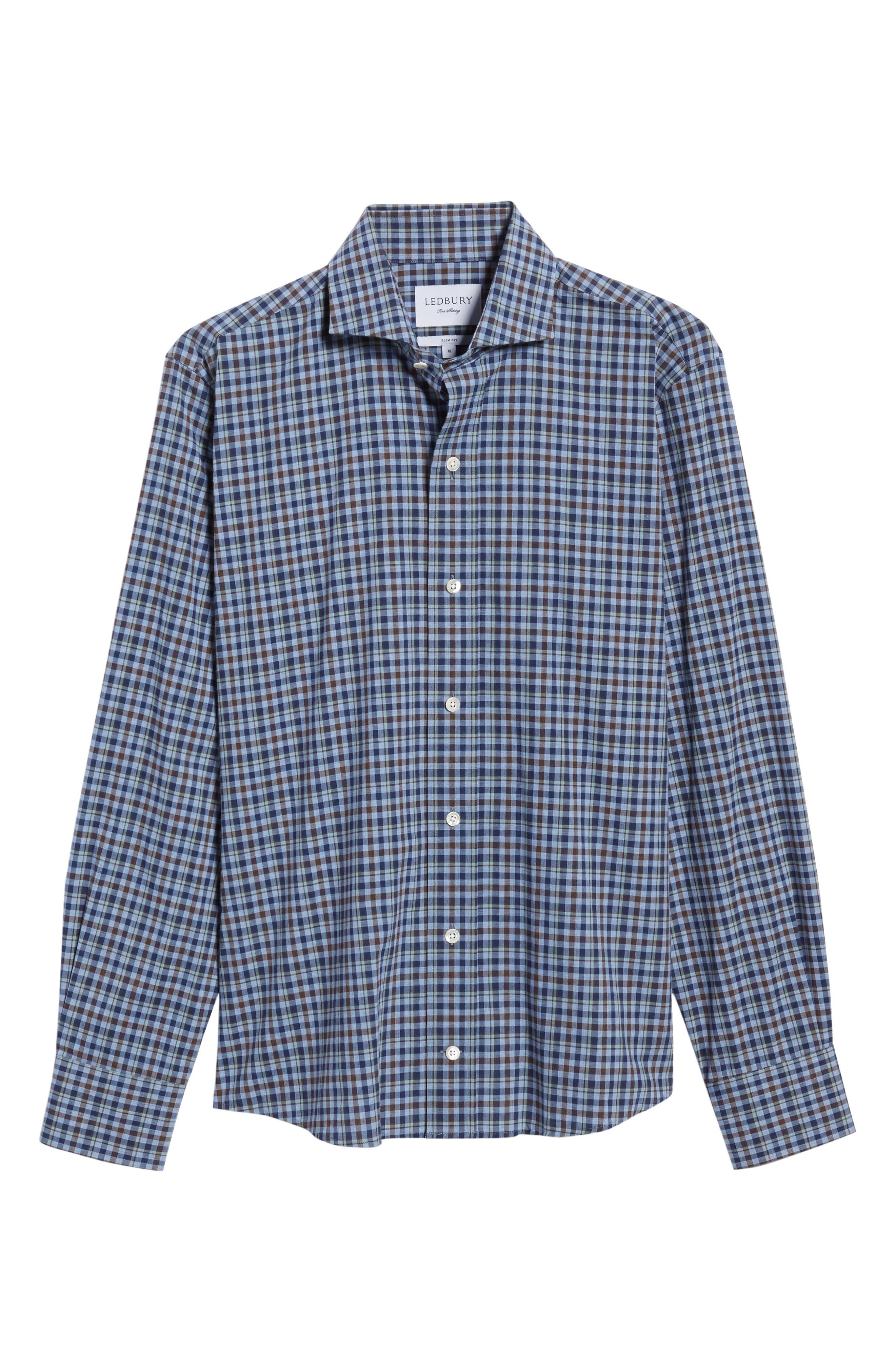 Alden Slim Fit Plaid Sport Shirt,                             Alternate thumbnail 6, color,                             Blue