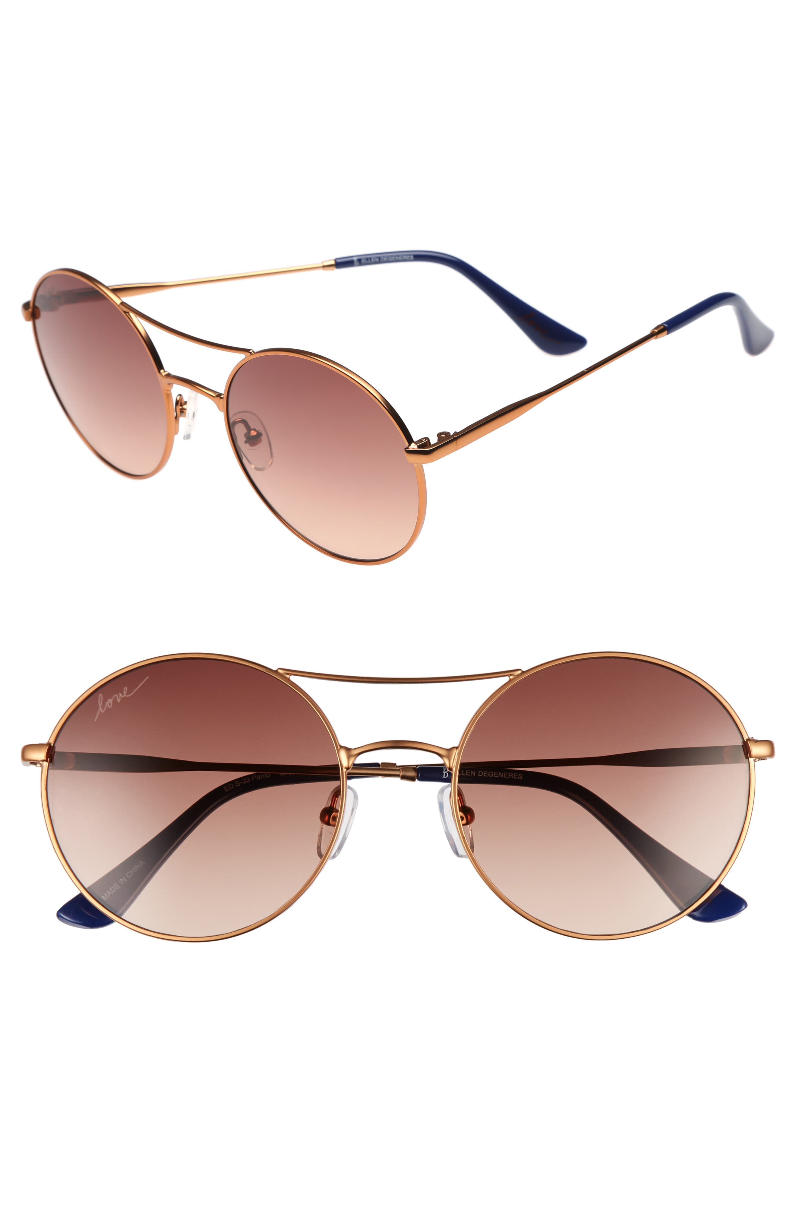 55mm Round Sunglasses,                             Main thumbnail 1, color,                             Bronze