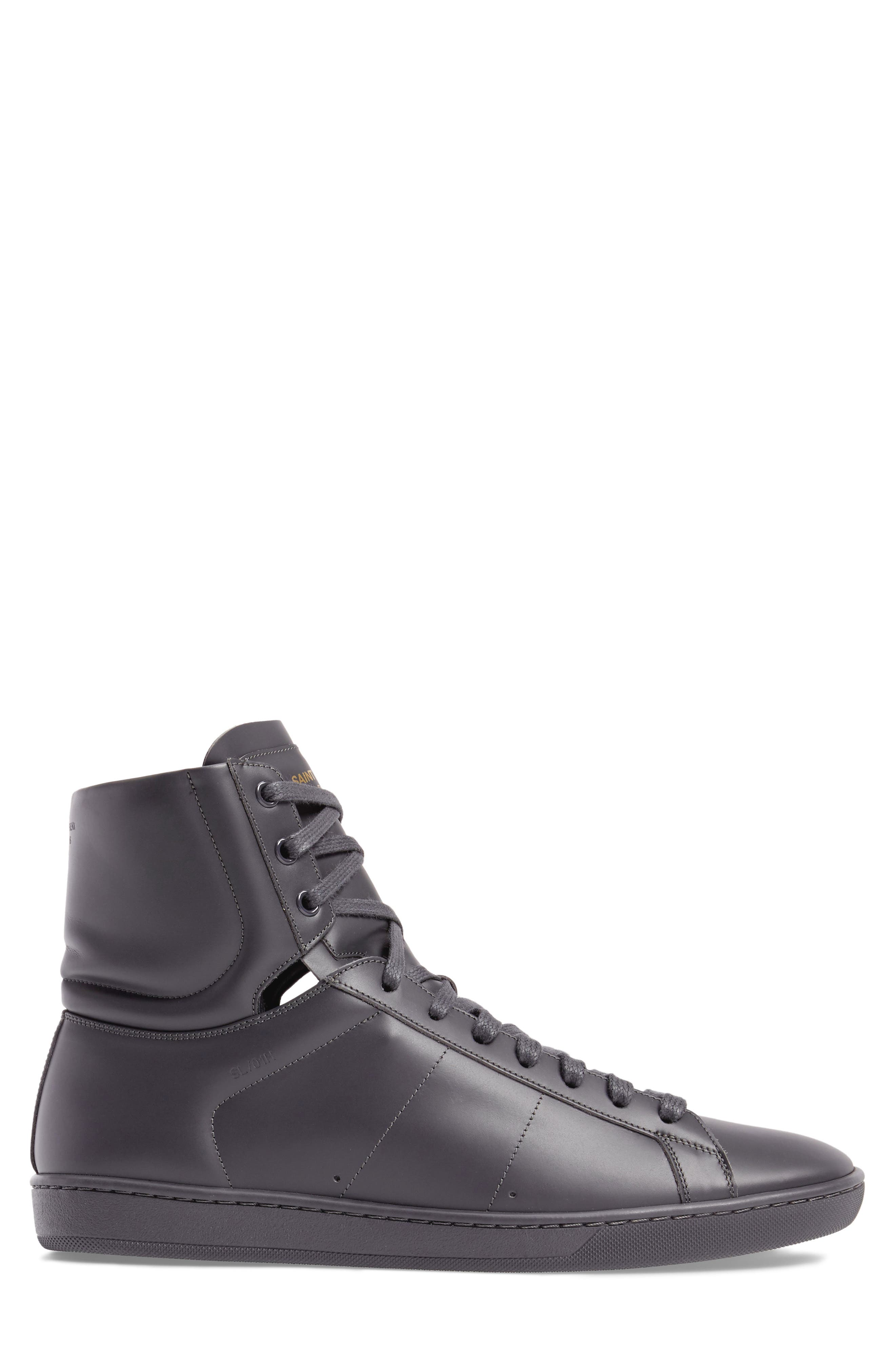 Signature Court Classic Sneaker,                             Alternate thumbnail 3, color,                             Grey Leather