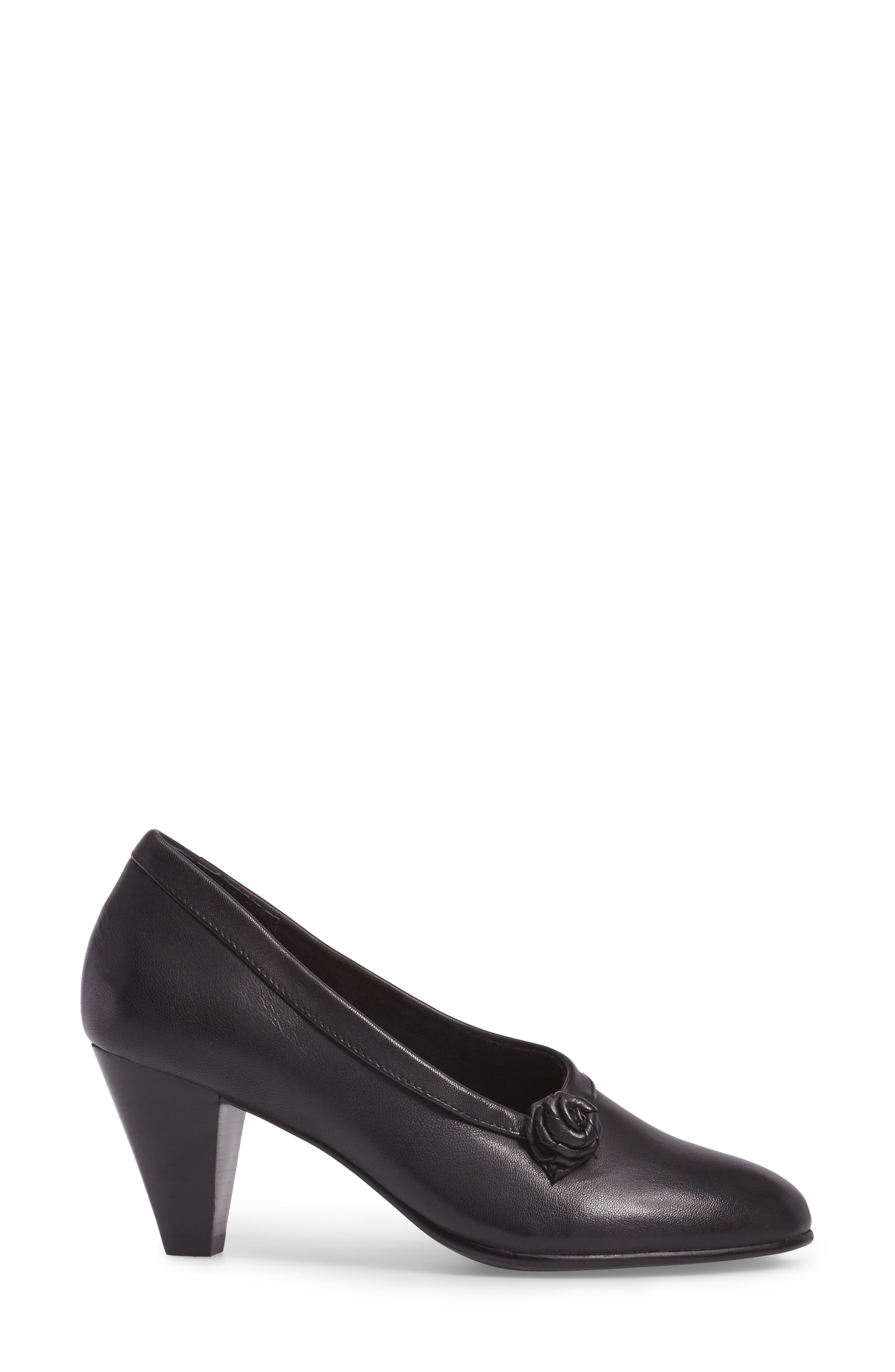 Kelly Pump,                             Alternate thumbnail 3, color,                             Black Leather