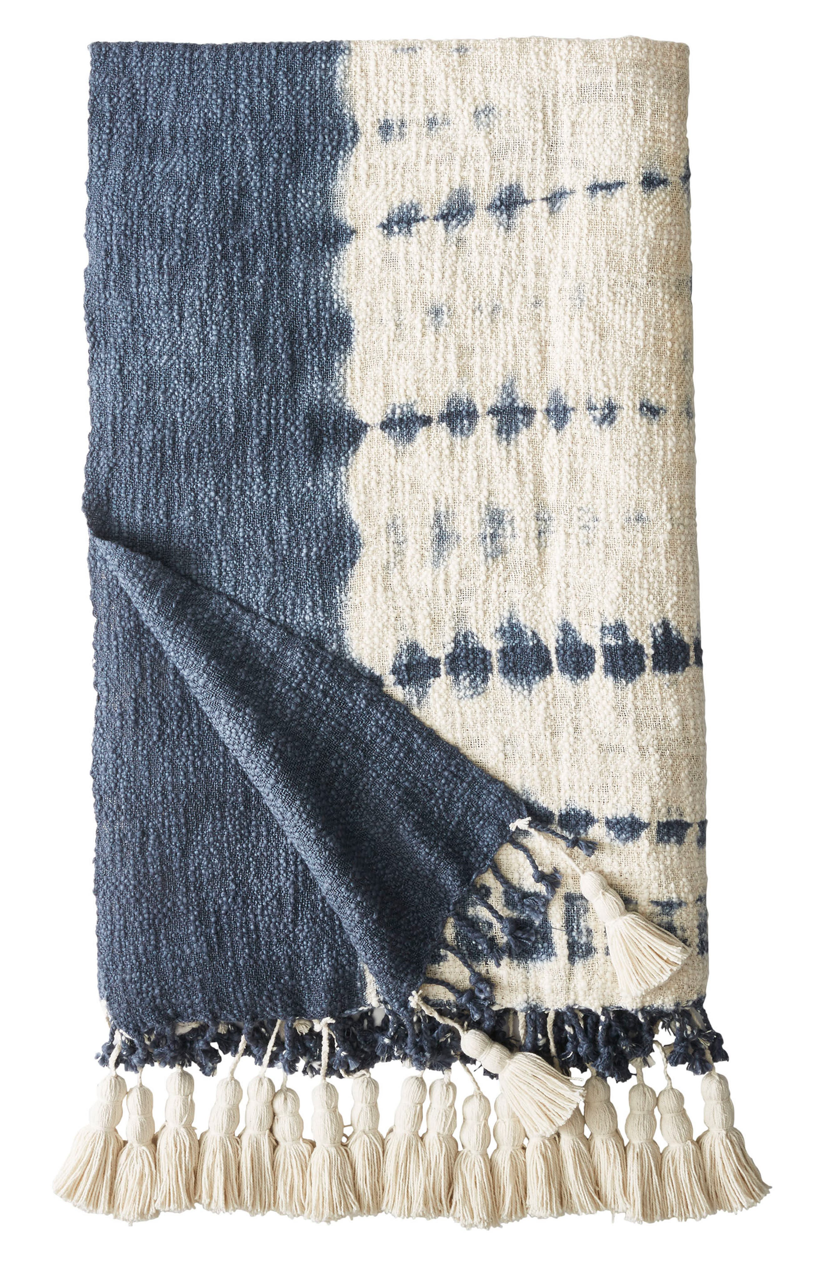 Island Indigo Throw Blanket,                         Main,                         color, Navy/ Cream