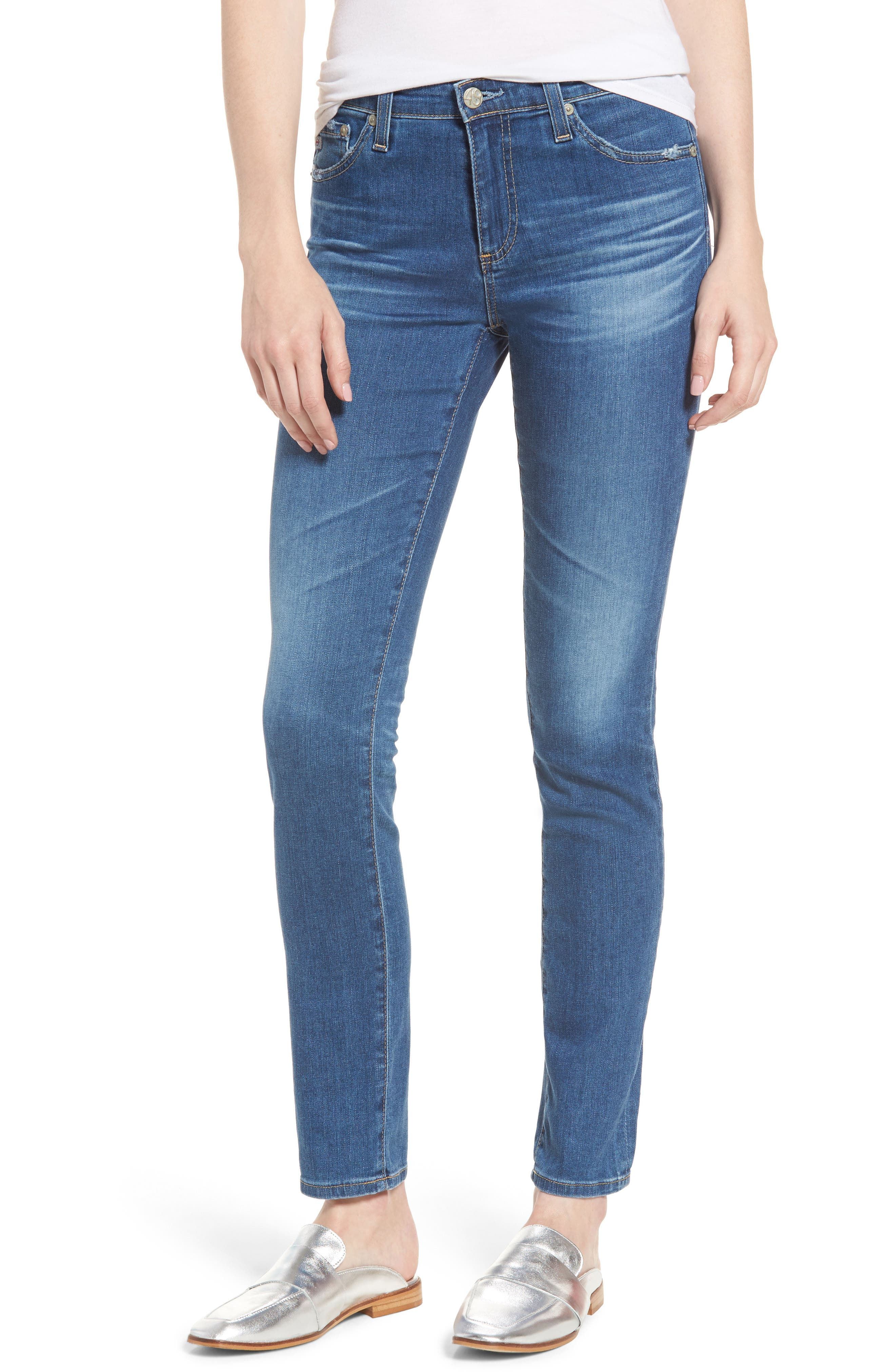 'Prima' Skinny Jeans,                             Main thumbnail 1, color,                             14 Years Blue Nile