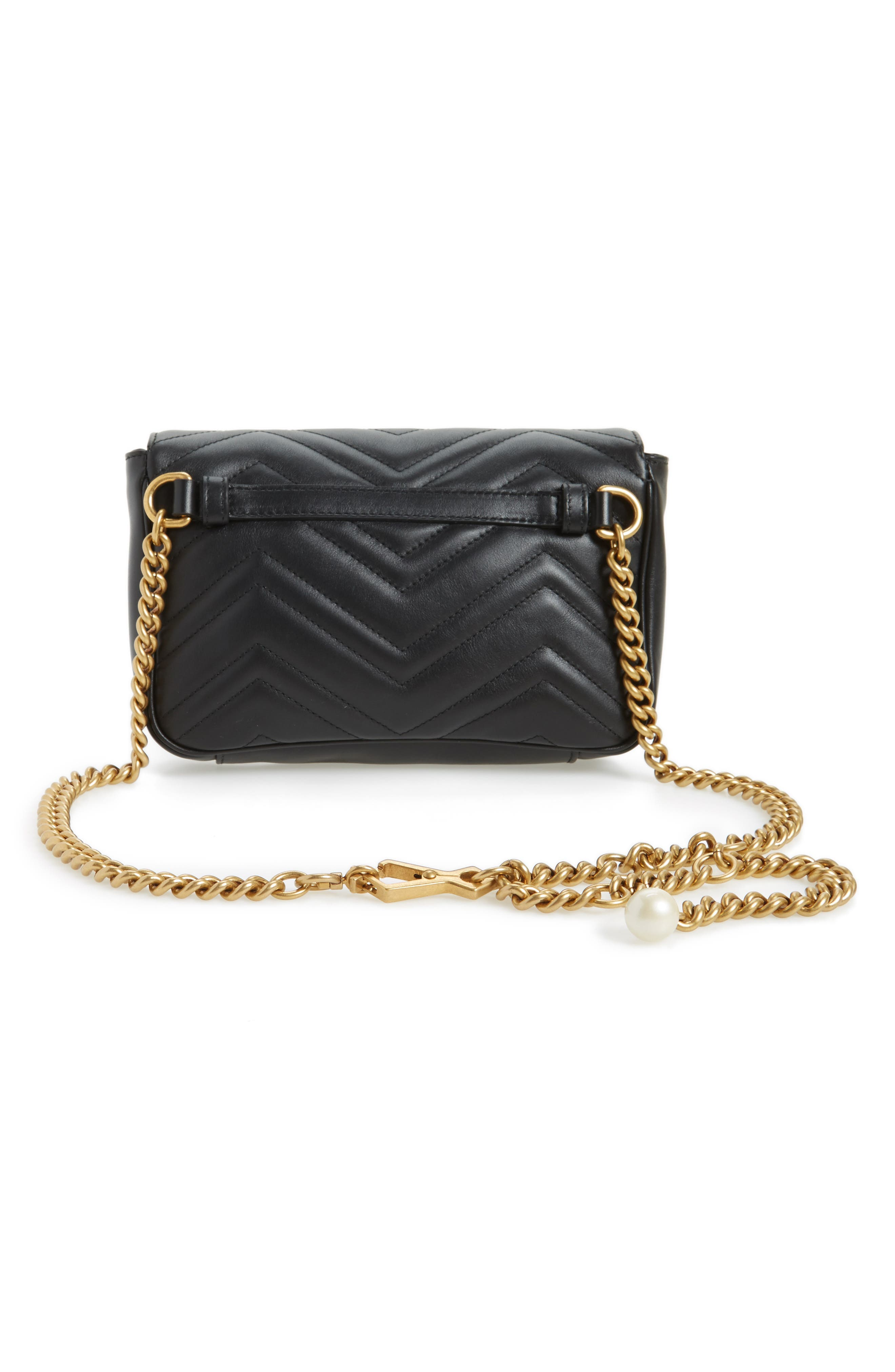 Marmont 2.0 Imitation Pearl Logo Quilted Leather Belt Bag,                             Alternate thumbnail 3, color,                             Nero Black