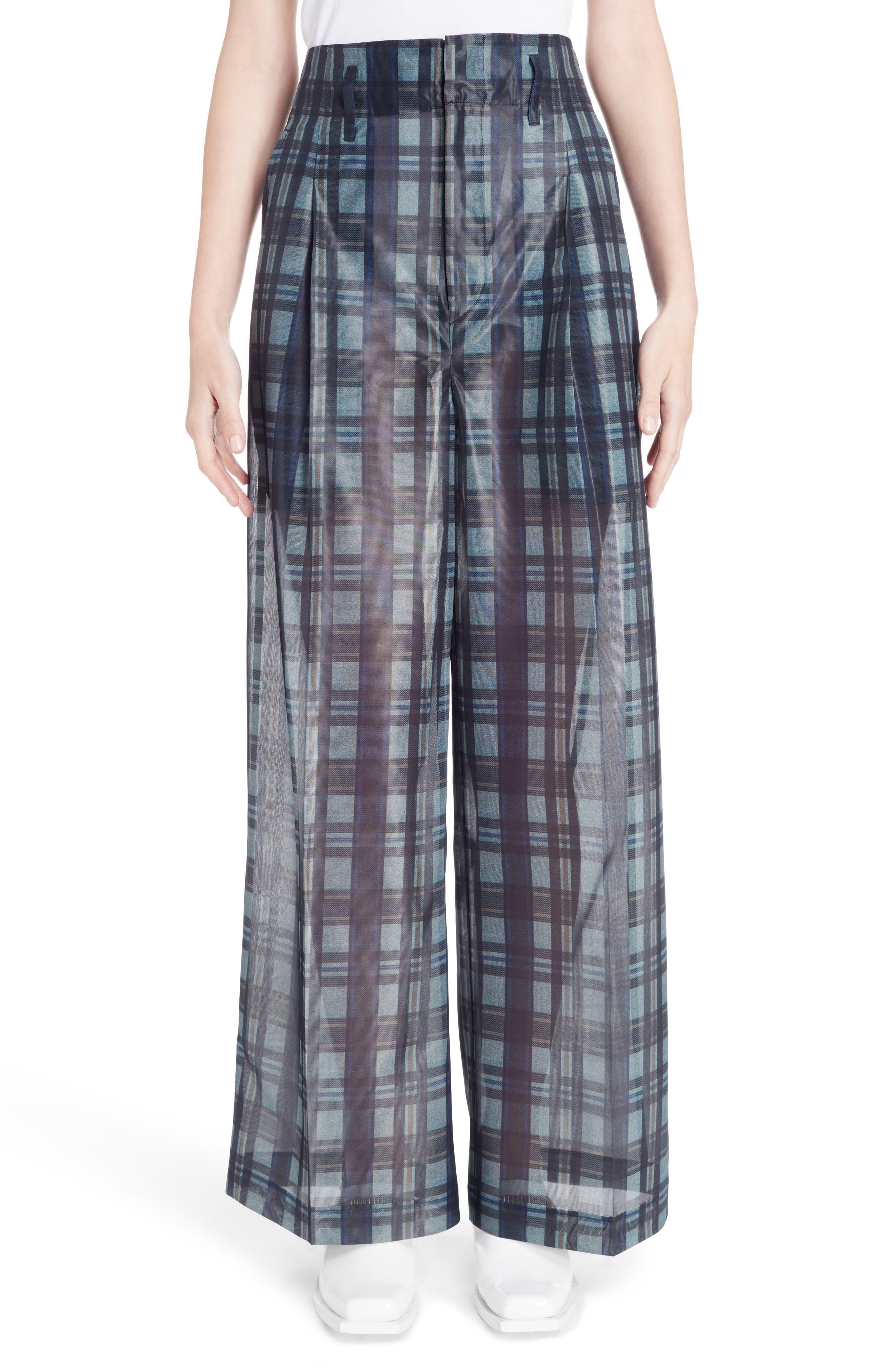 Plaid Mesh Pants,                         Main,                         color, Gray