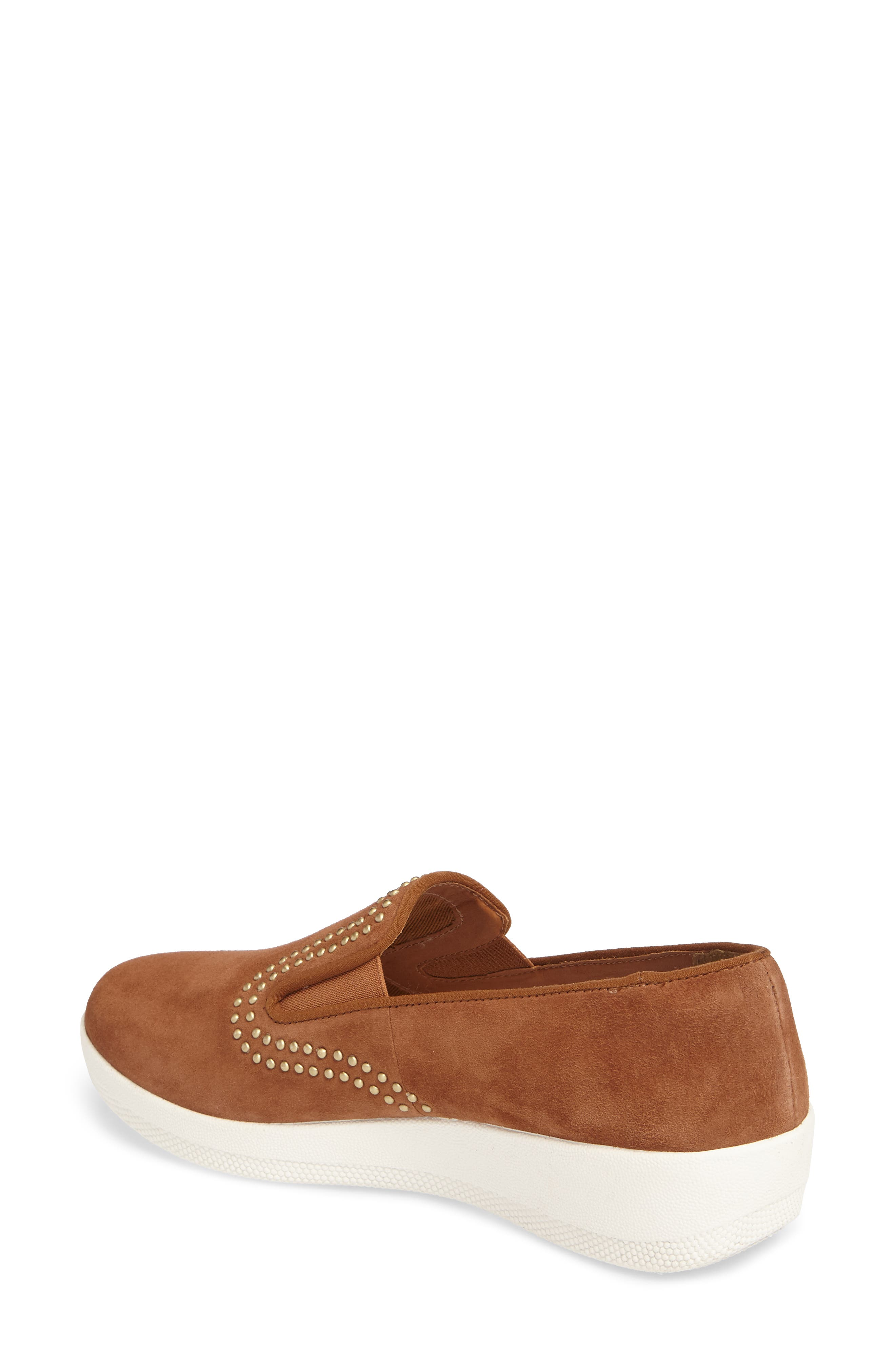 Superskate Studded Wedge Loafer,                             Alternate thumbnail 2, color,                             Tan Faux Suede