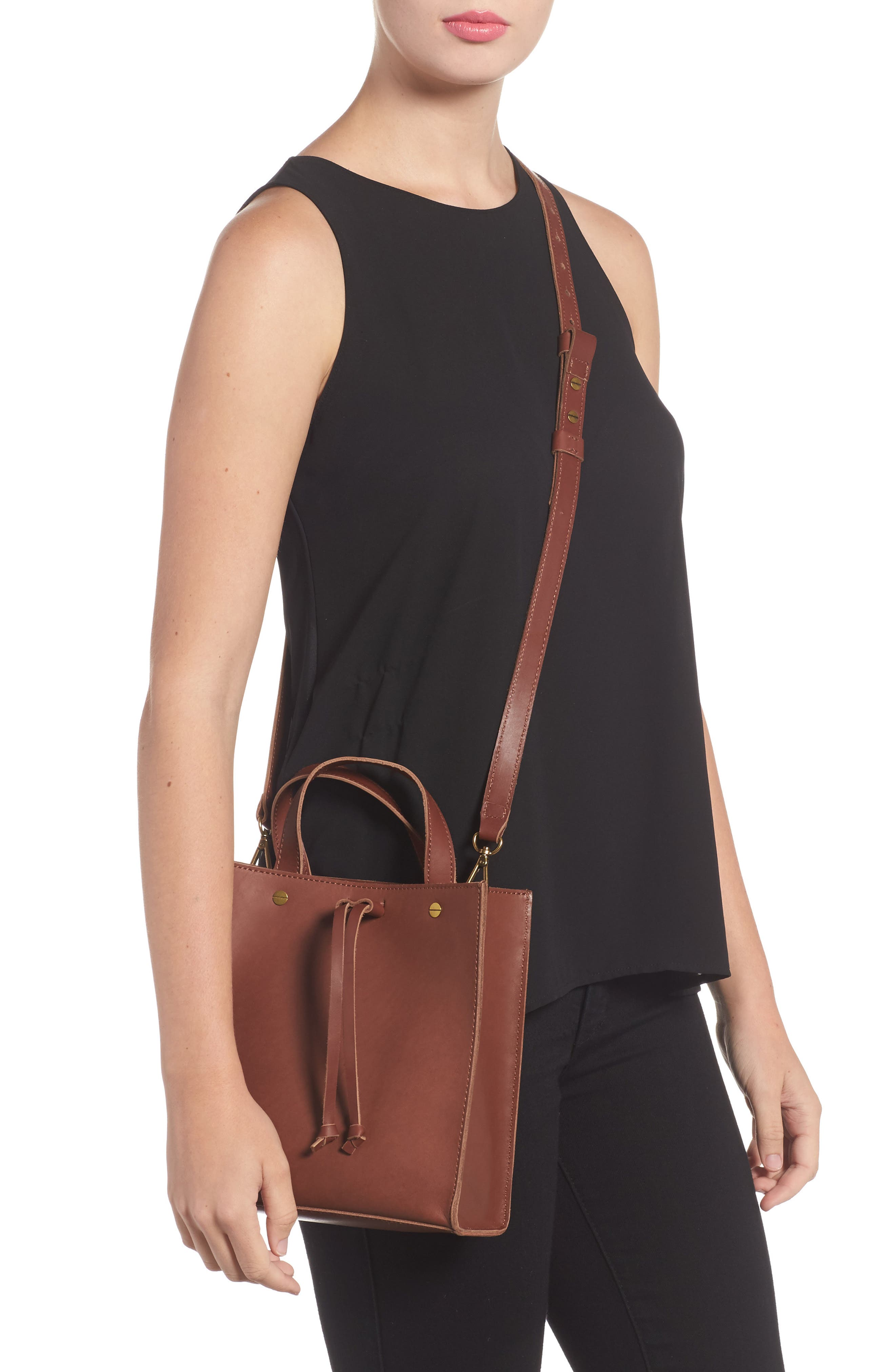 Small Trick Leather Top Handle Tote,                             Alternate thumbnail 2, color,                             Rich Brown
