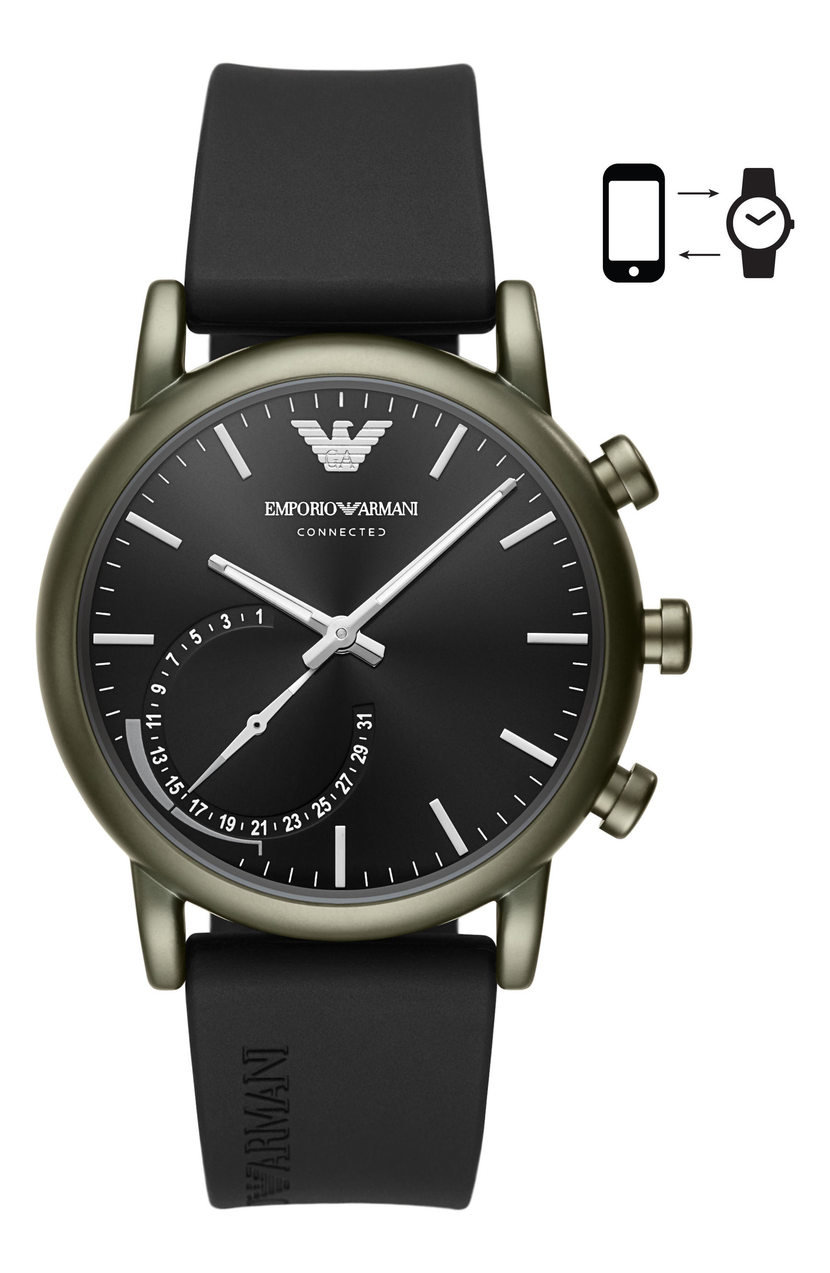 Emporio Armani Connected Hybrid Silicone Strap Smartwatch, 43mm