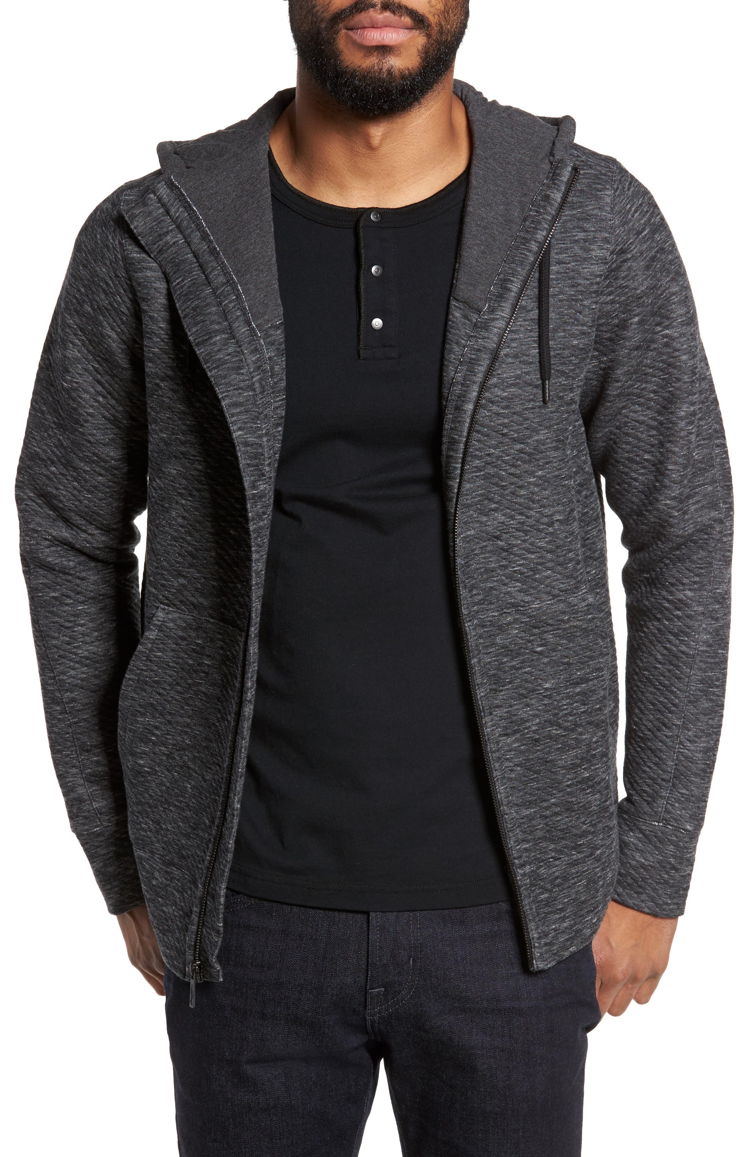 Texture Zip Hoodie,                         Main,                         color, Charcoal