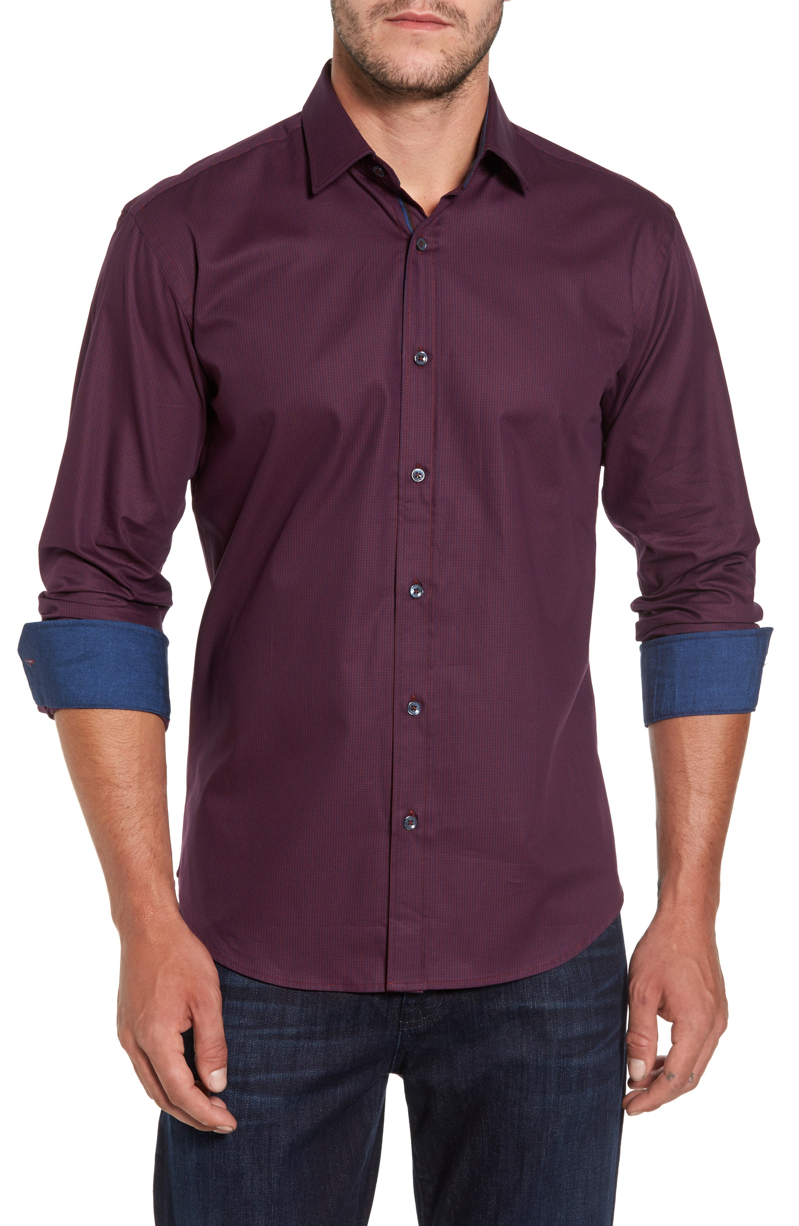 Shaped Fit Sport Shirt,                         Main,                         color, Wine