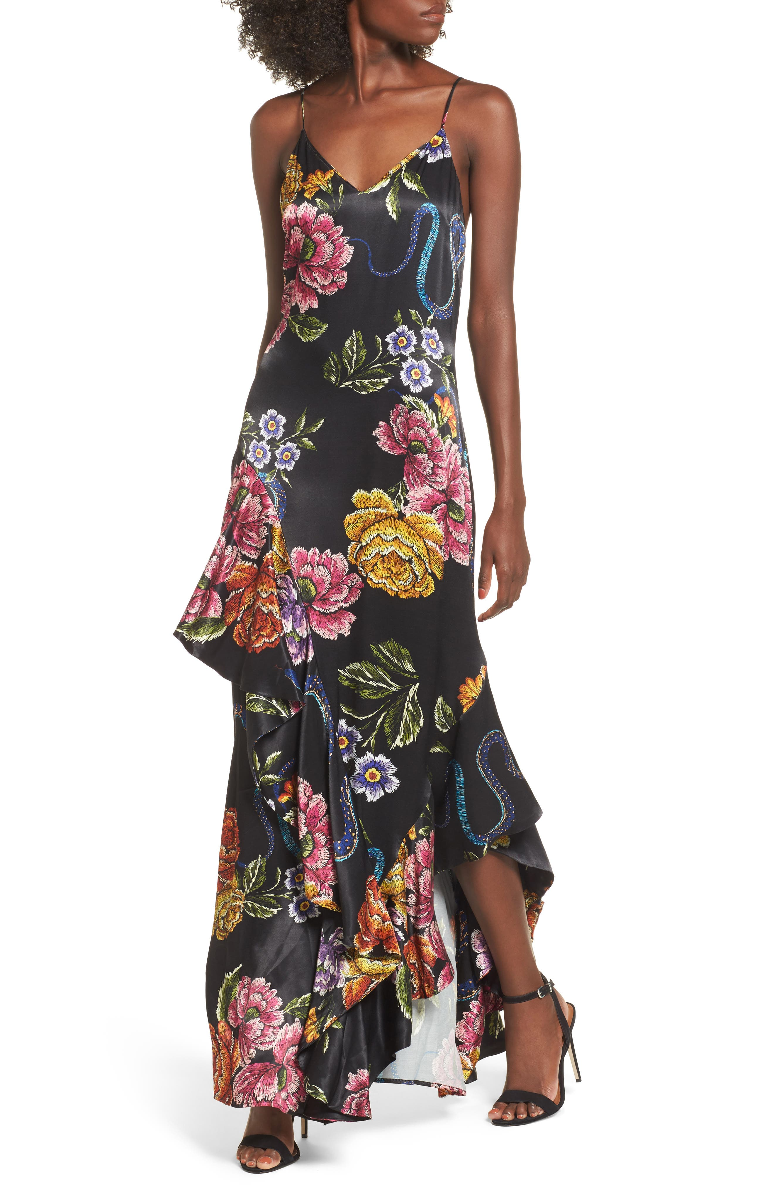 Florence Ruffle Maxi Dress,                         Main,                         color, Snake Floral