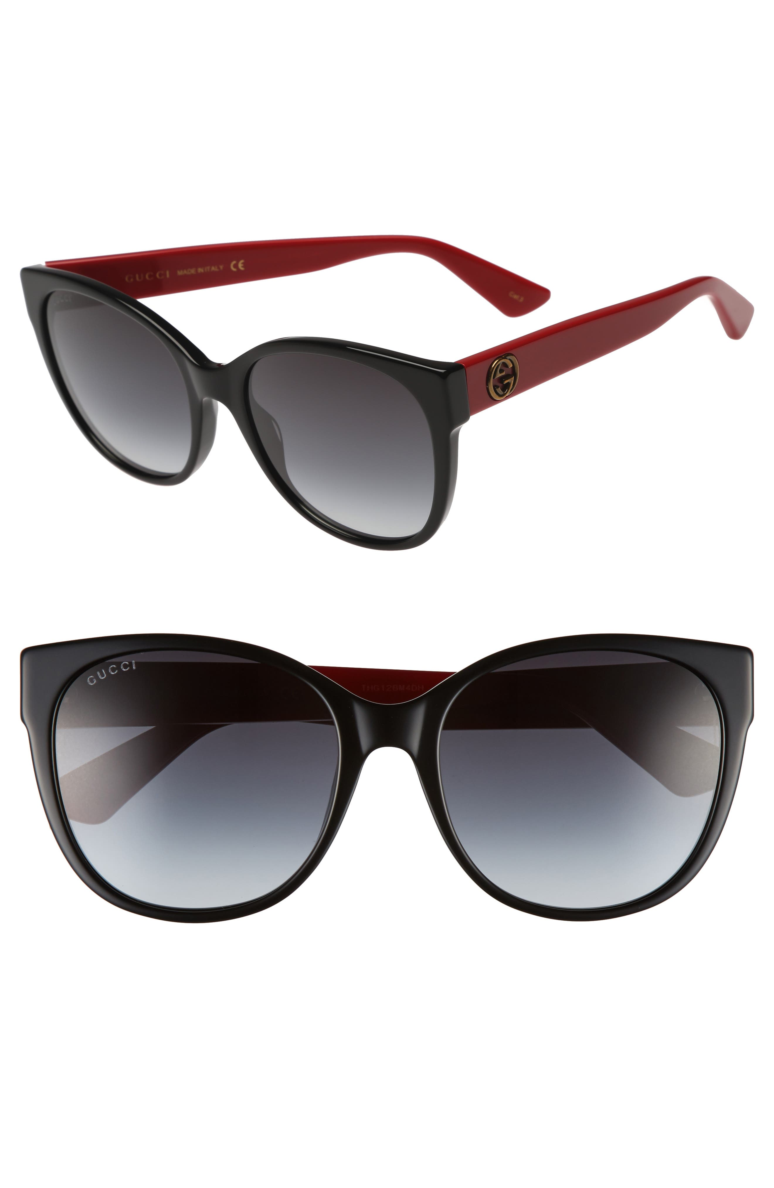 56mm Cat Eye Sunglasses,                         Main,                         color, Black/ Grey
