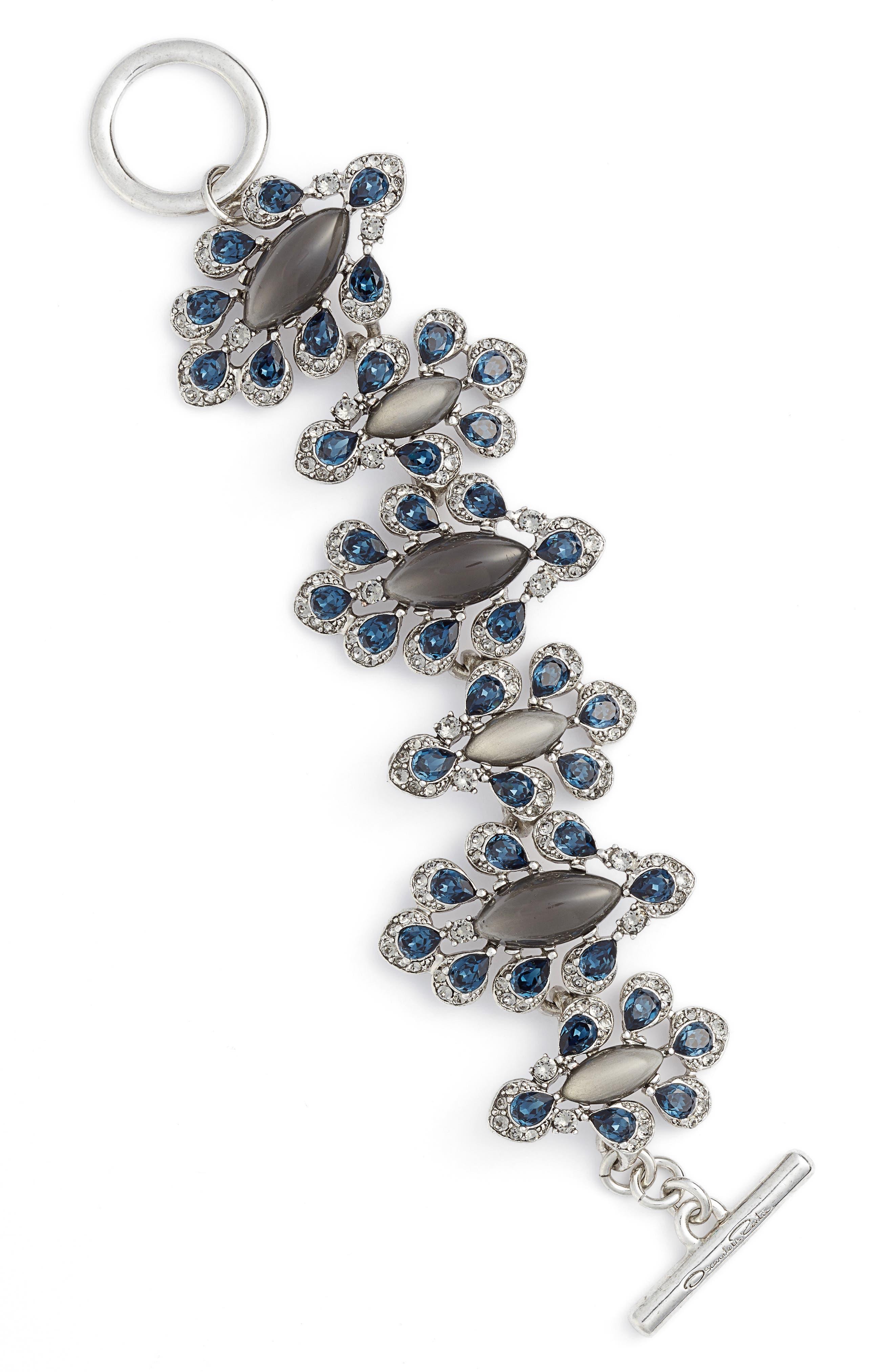 Parlor Swarovski Crystal Bracelet,                         Main,                         color, Antique Silver