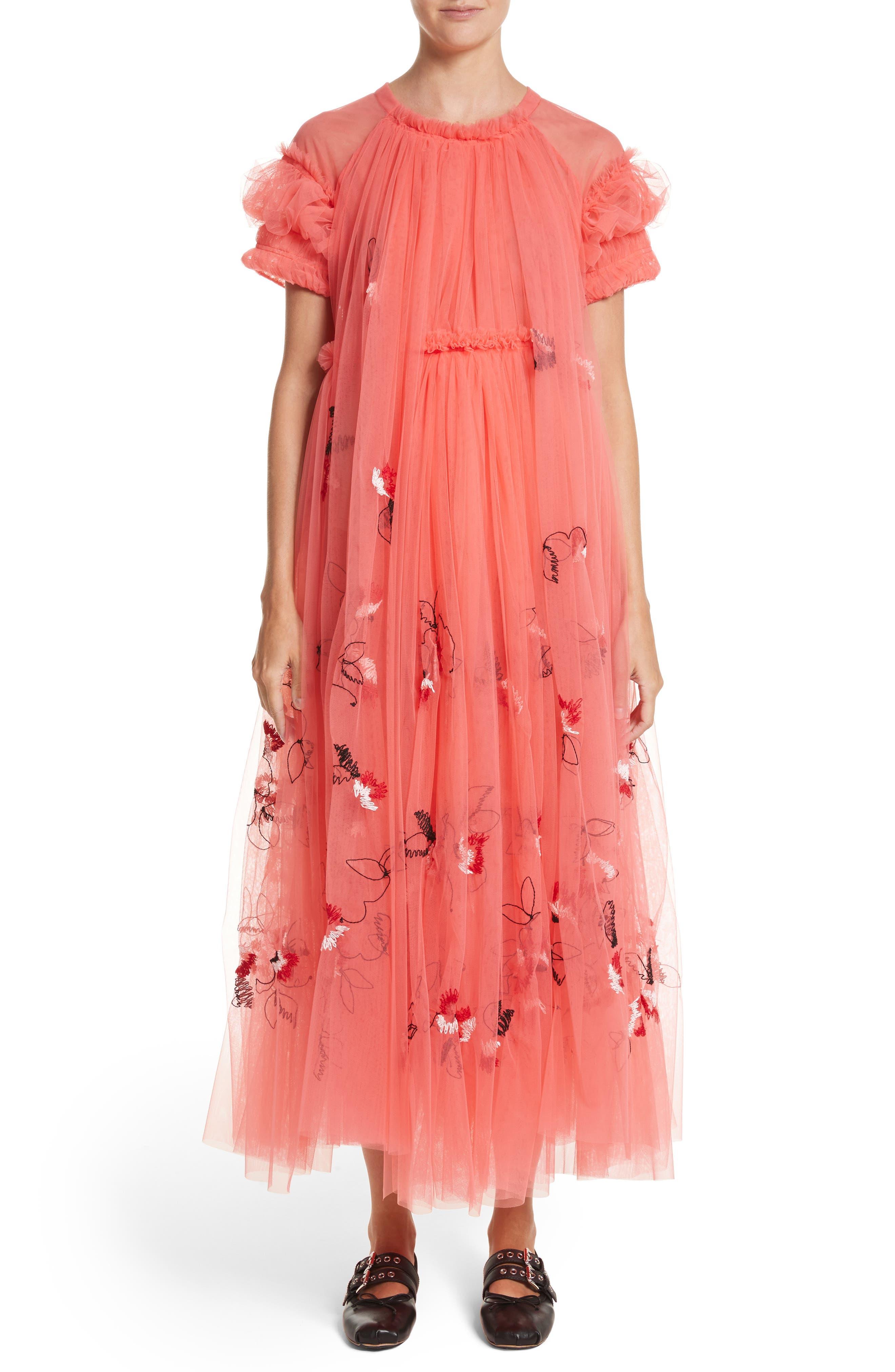 Doris Embroidered Tulle Dress,                         Main,                         color, Peach