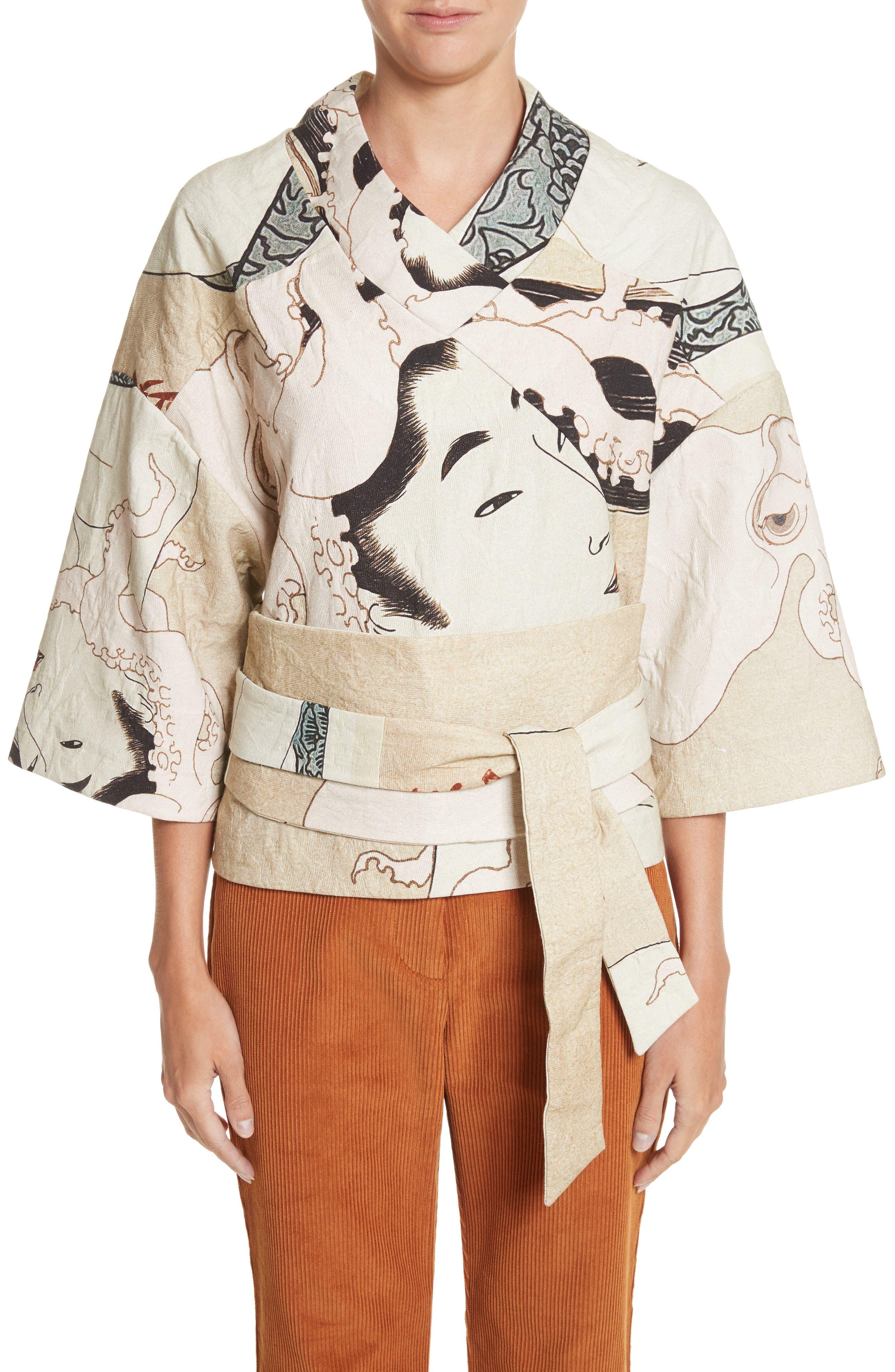 A.W.A.K.E. Printed Kimono Bomber Jacket