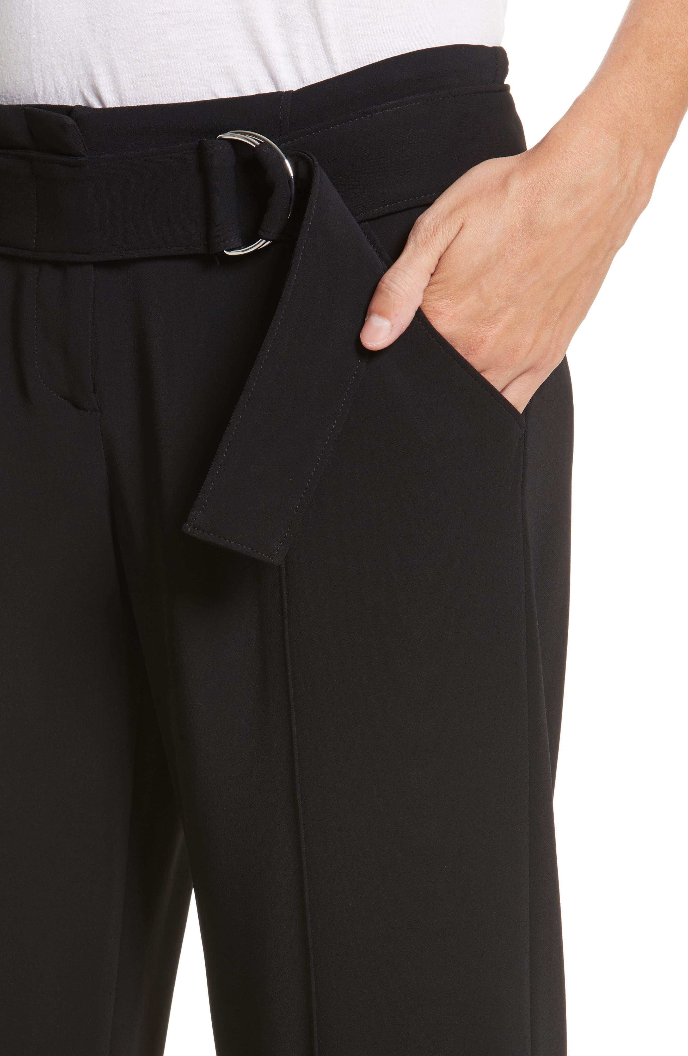 Heri Wide Leg Crepe Pants,                             Alternate thumbnail 4, color,                             Black