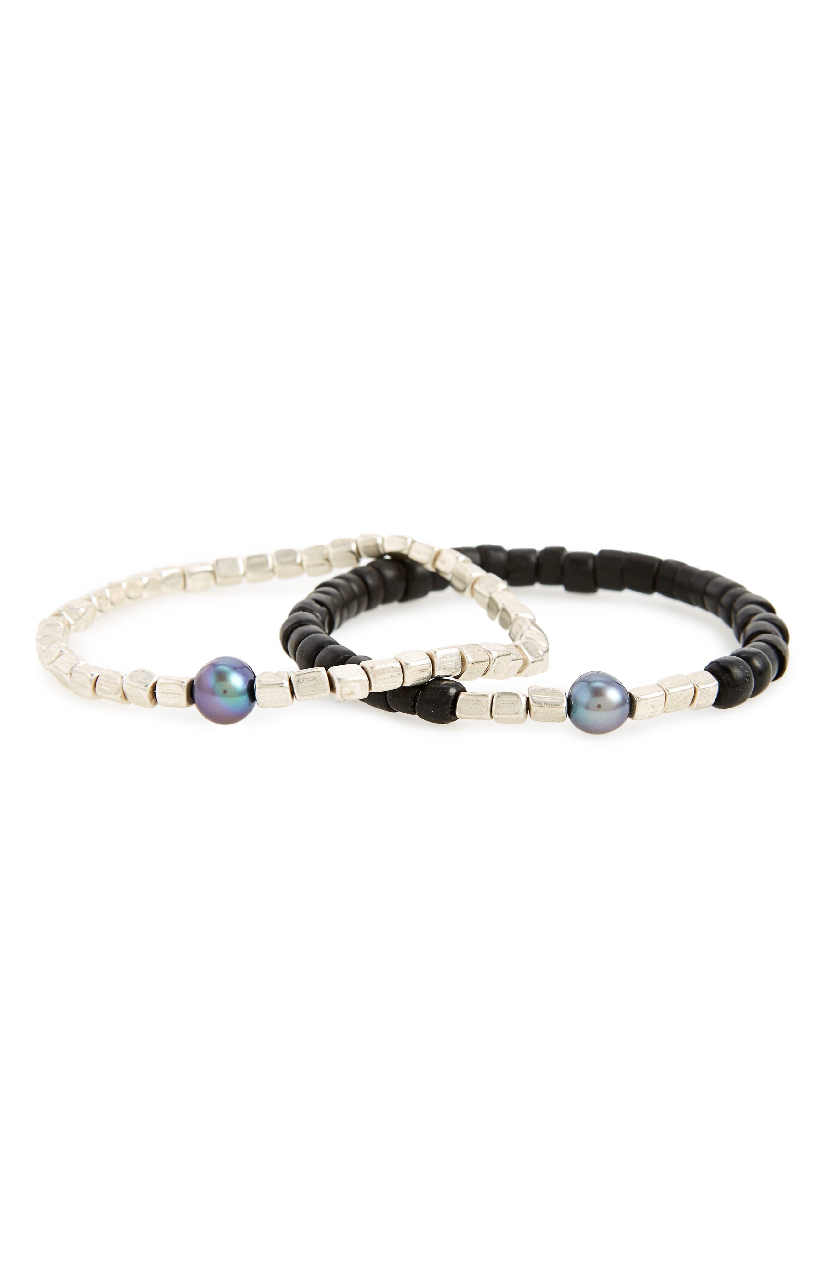 Essouira Shore Bead Bracelet Set,                         Main,                         color, Black/ Silver