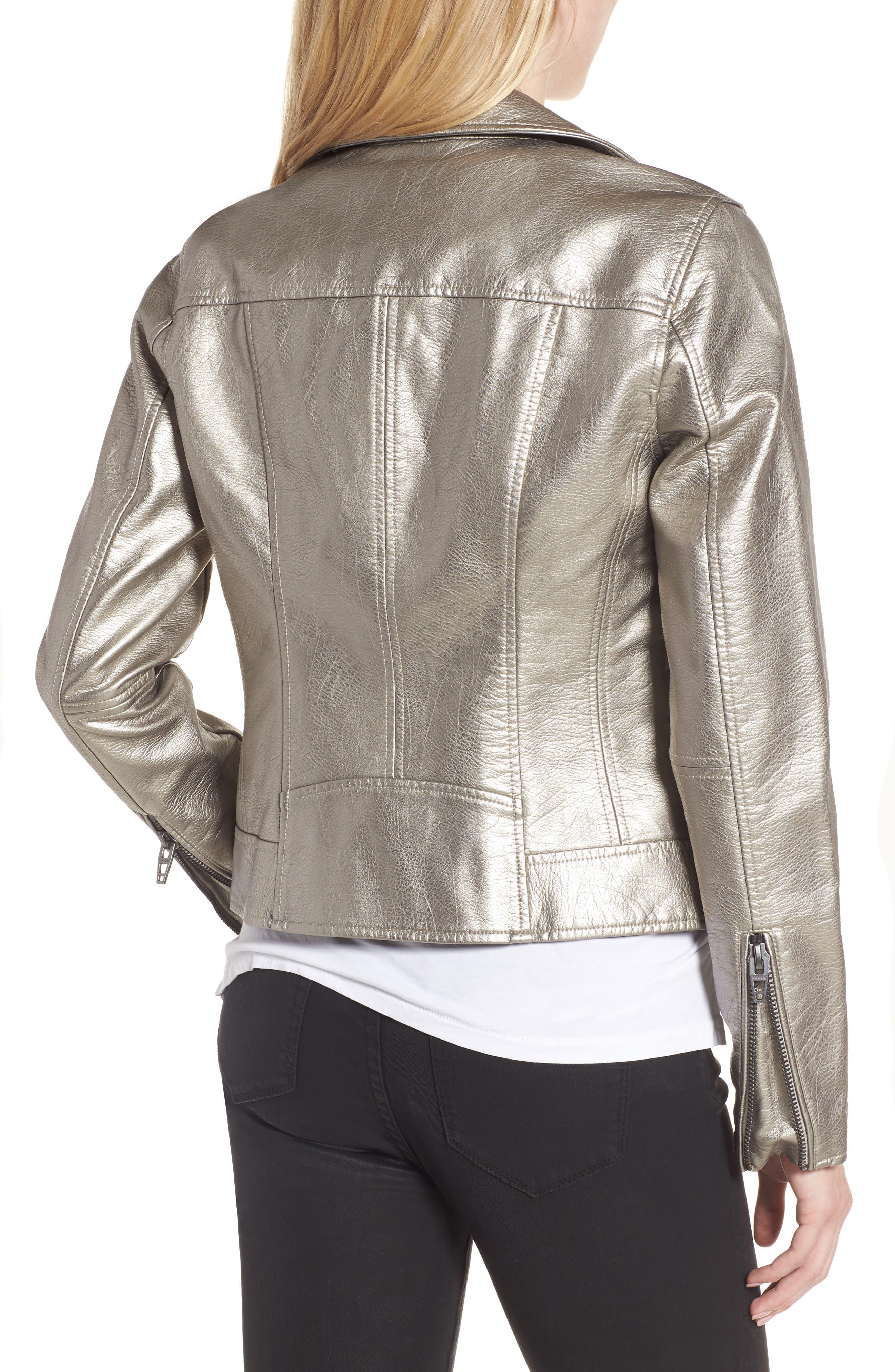 Life Changer Moto Jacket,                             Alternate thumbnail 2, color,                             Silver Mine