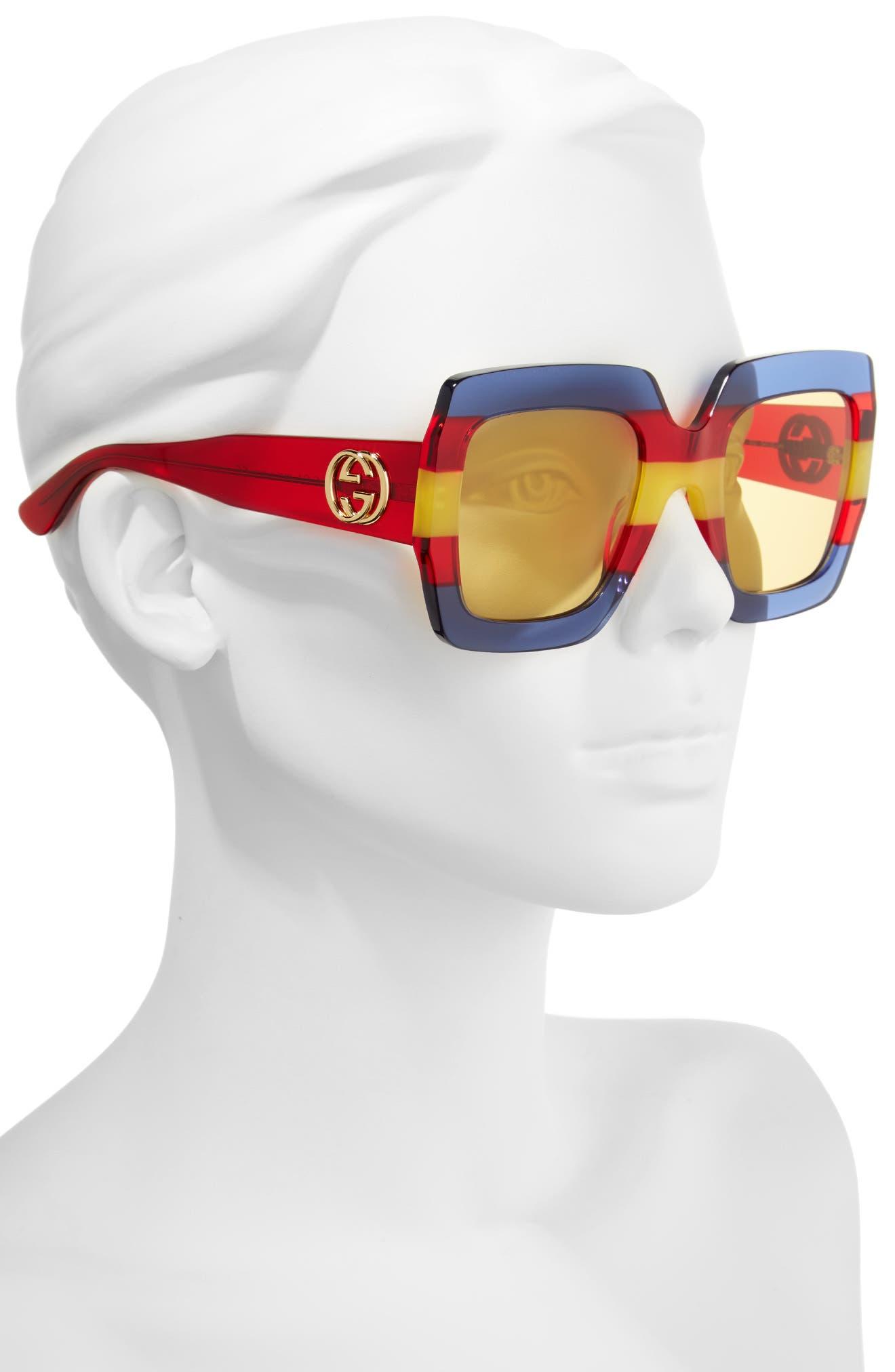 54mm Square Sunglasses,                             Alternate thumbnail 2, color,                             Multi/ Blue