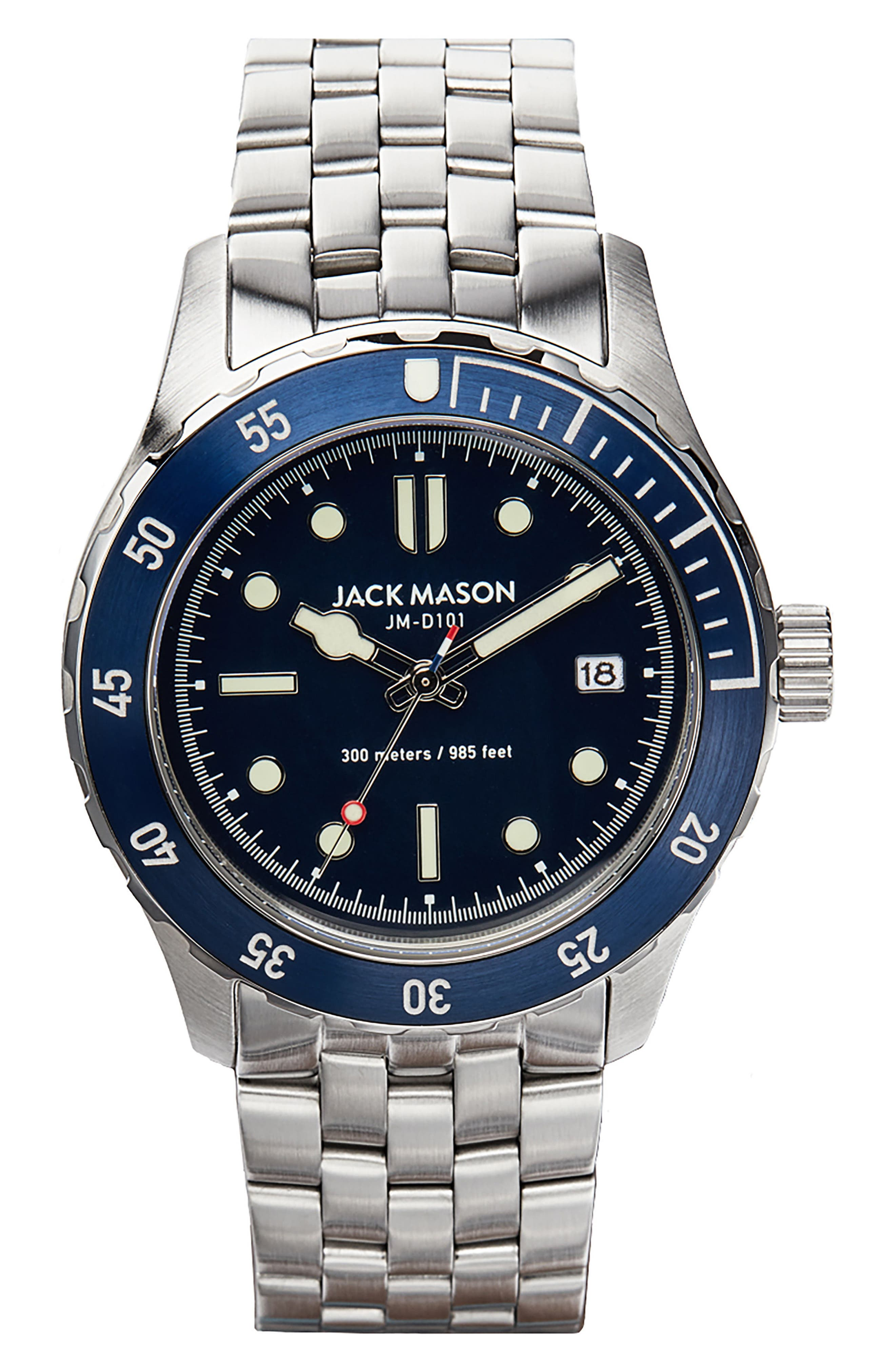 Diving Bracelet Watch, 42mm,                         Main,                         color, Navy/ Stainless Steel