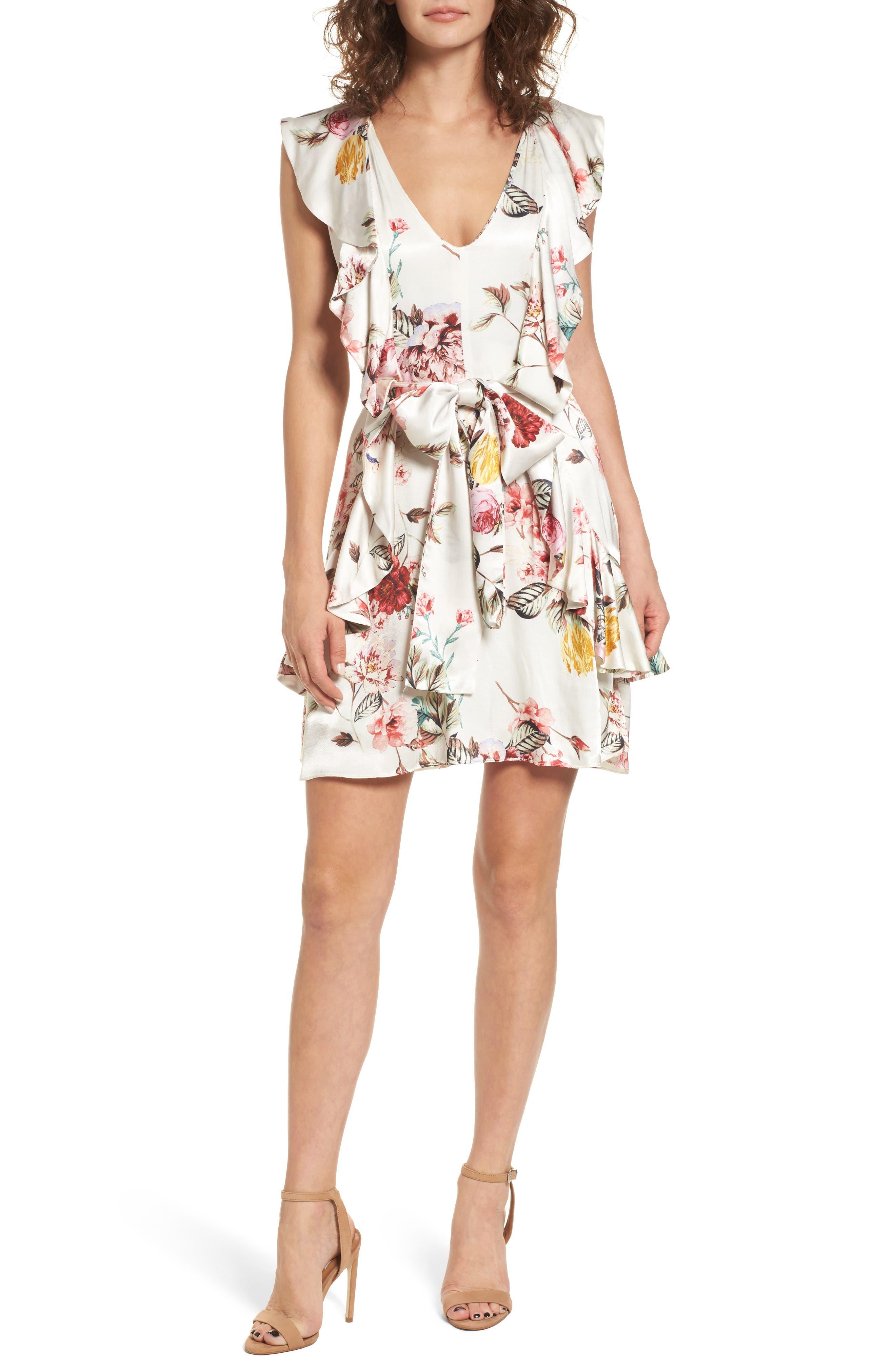 Clara Ruffle Dress,                             Main thumbnail 1, color,                             Primrose Blanc