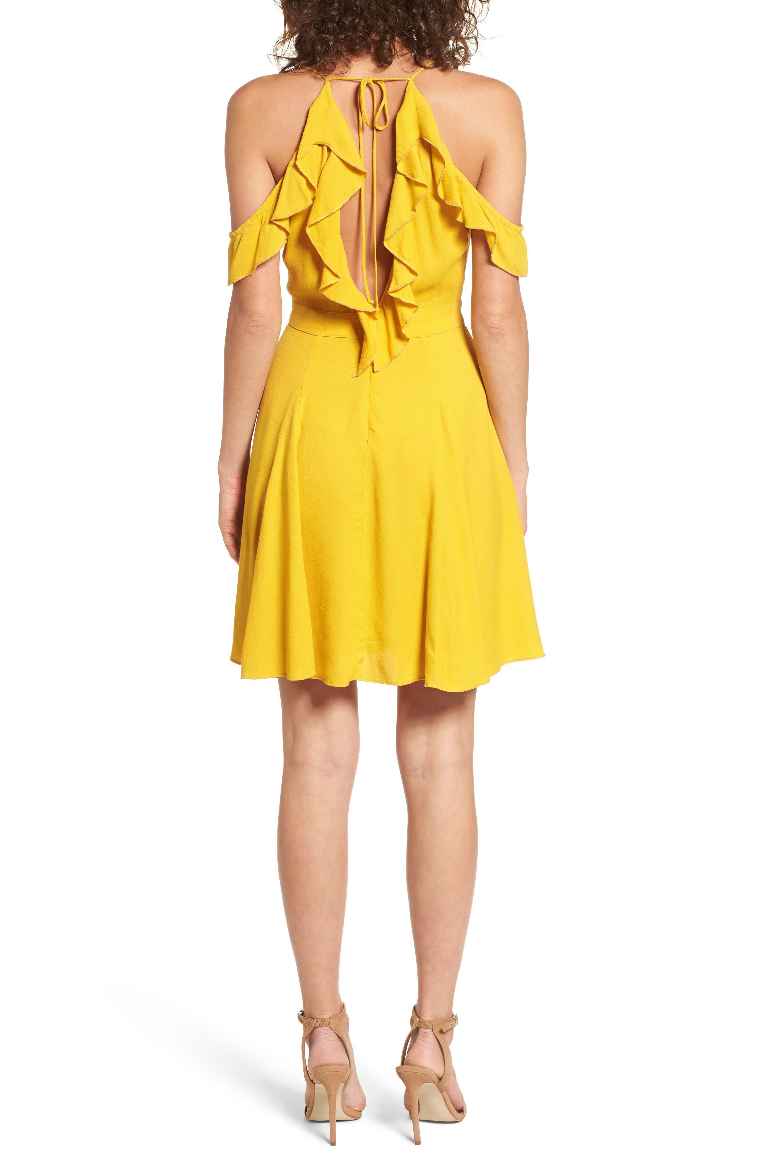 Enzo Cold Shoulder Fit & Flare Dress,                             Alternate thumbnail 2, color,                             Sun