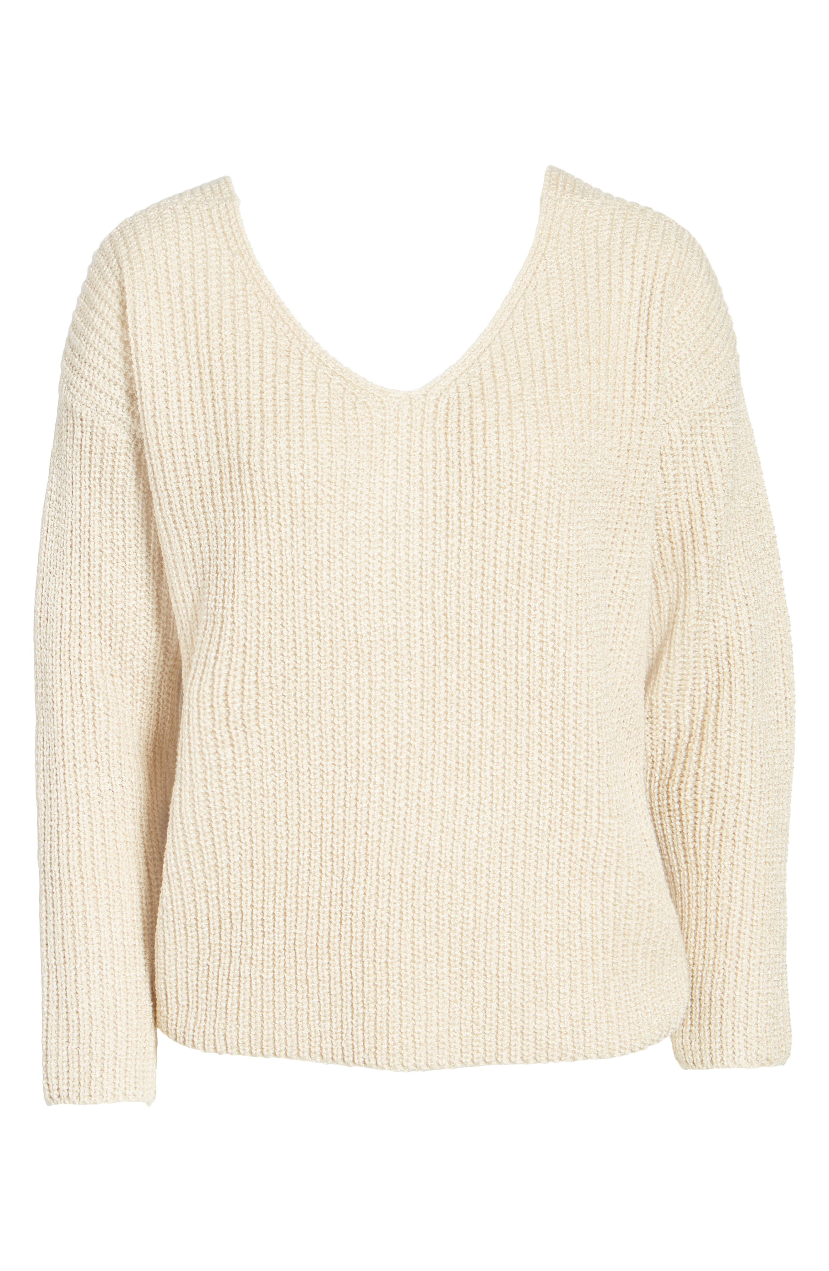 Twist Back Sweater,                             Alternate thumbnail 6, color,                             Oatmeal