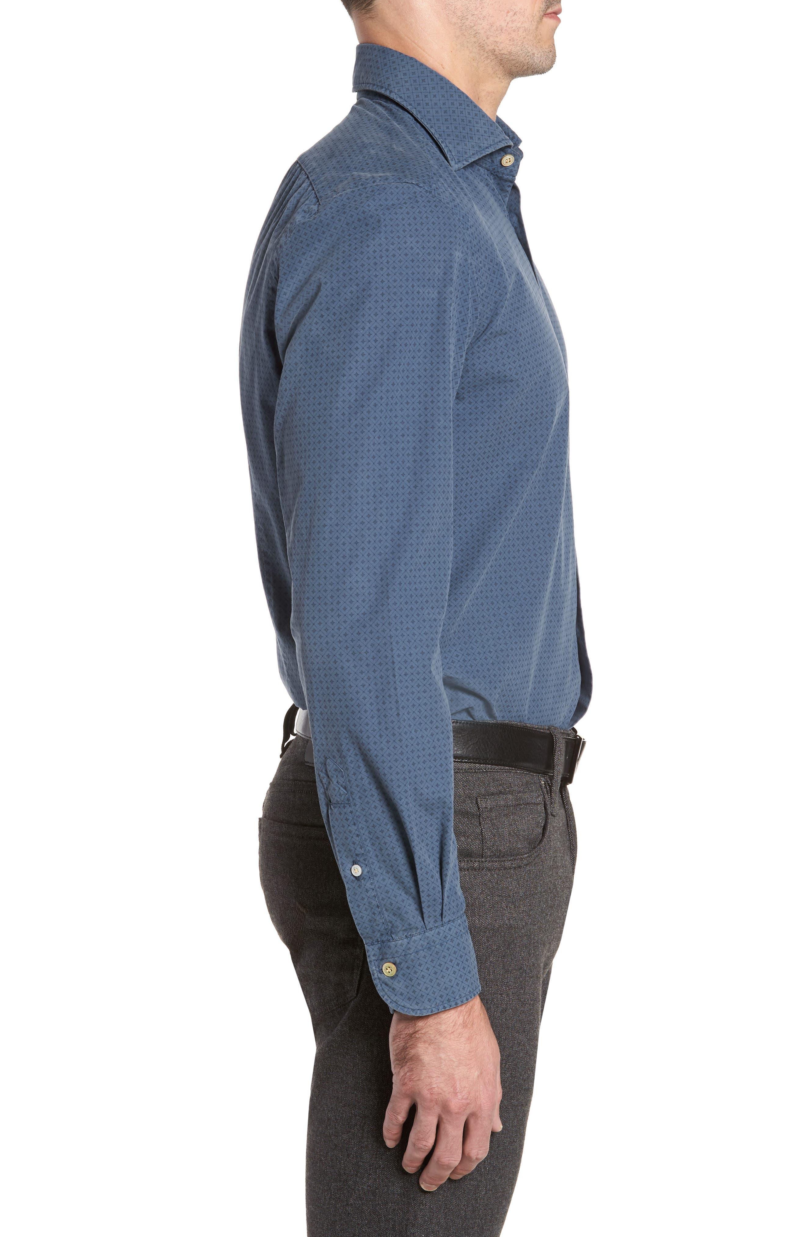 Classic Fit Diamond Print Sport Shirt,                             Alternate thumbnail 3, color,                             Blue