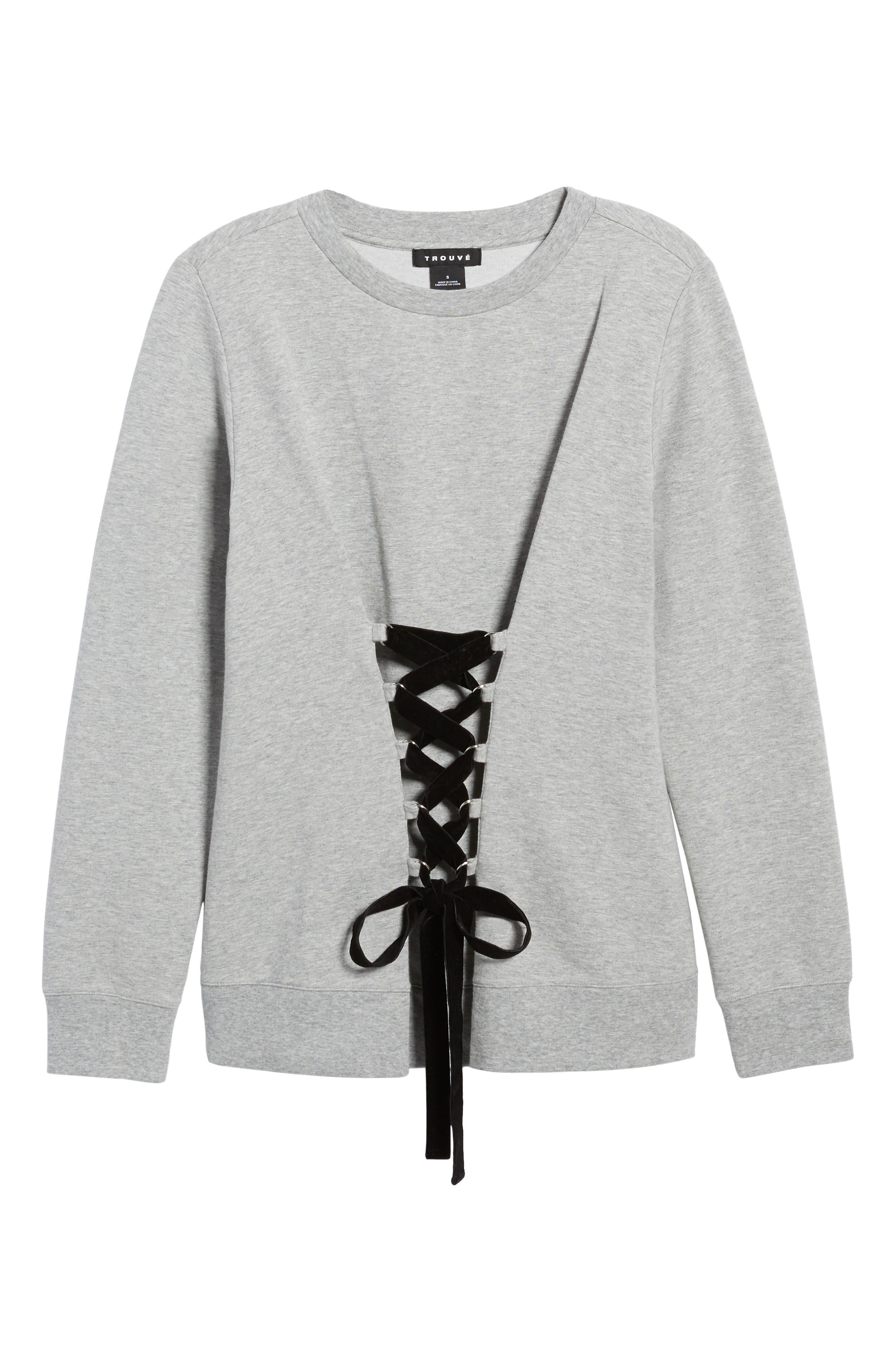 Lace-Up Sweatshirt,                             Alternate thumbnail 6, color,                             Grey Heather