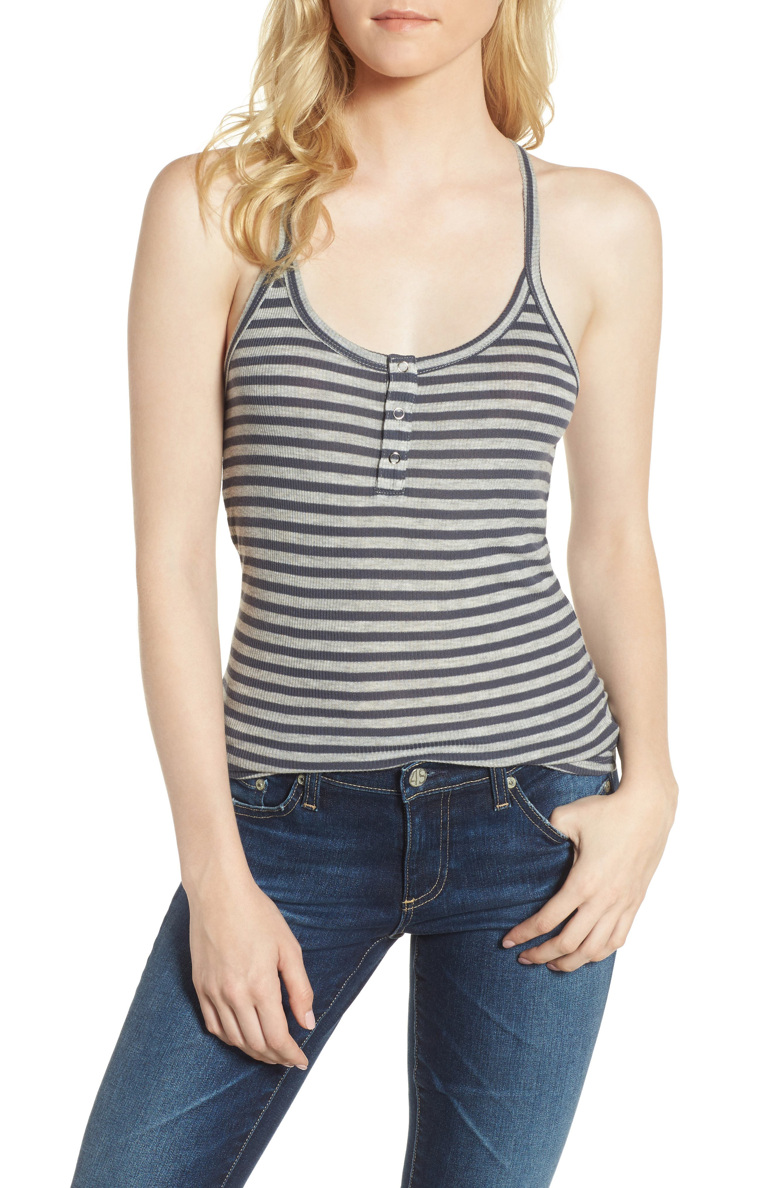 Rima Tank,                             Main thumbnail 1, color,                             Blueberry/ Heather Grey