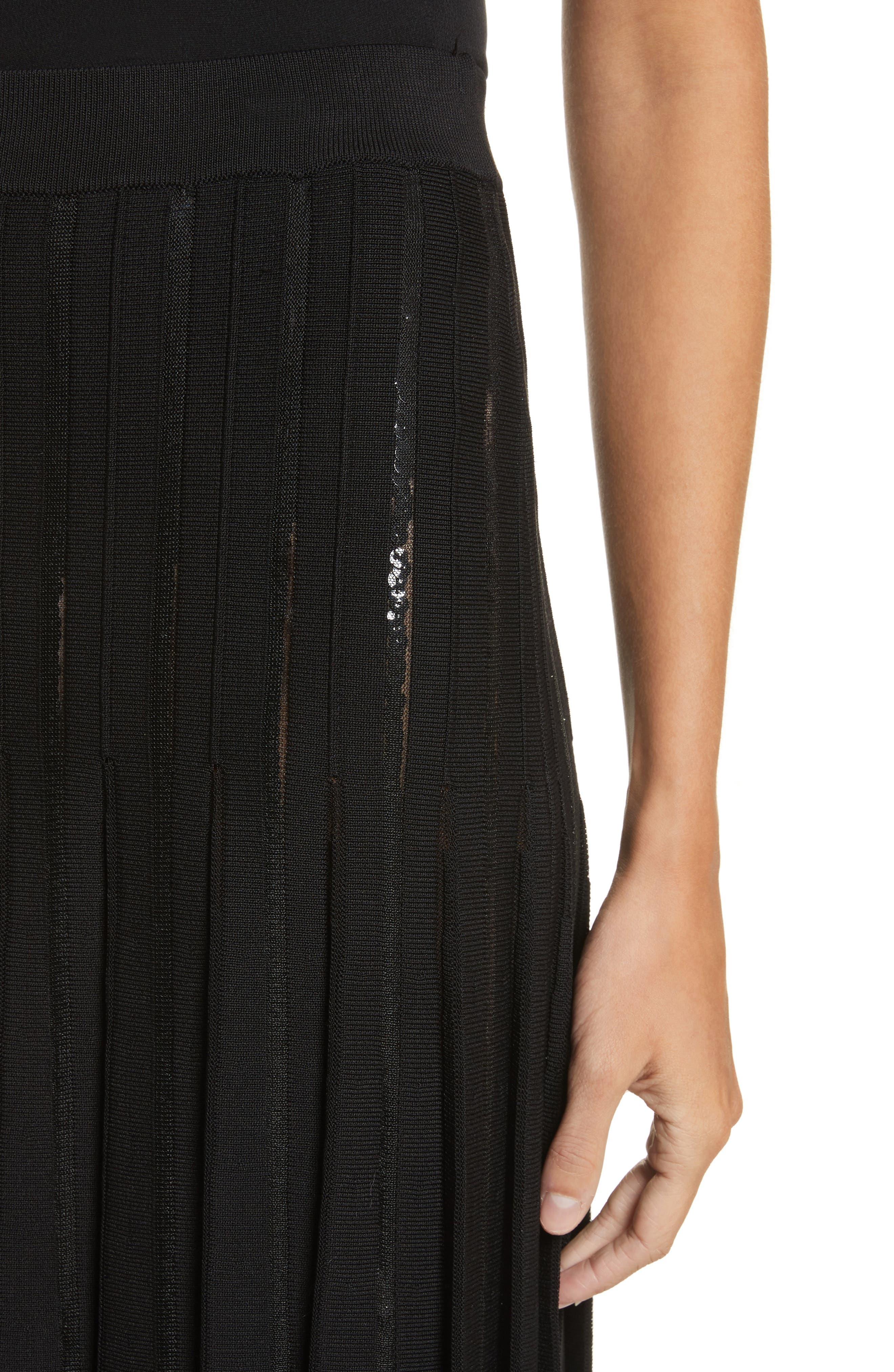 Pleated Sequin Flare Skirt,                             Alternate thumbnail 5, color,                             Black
