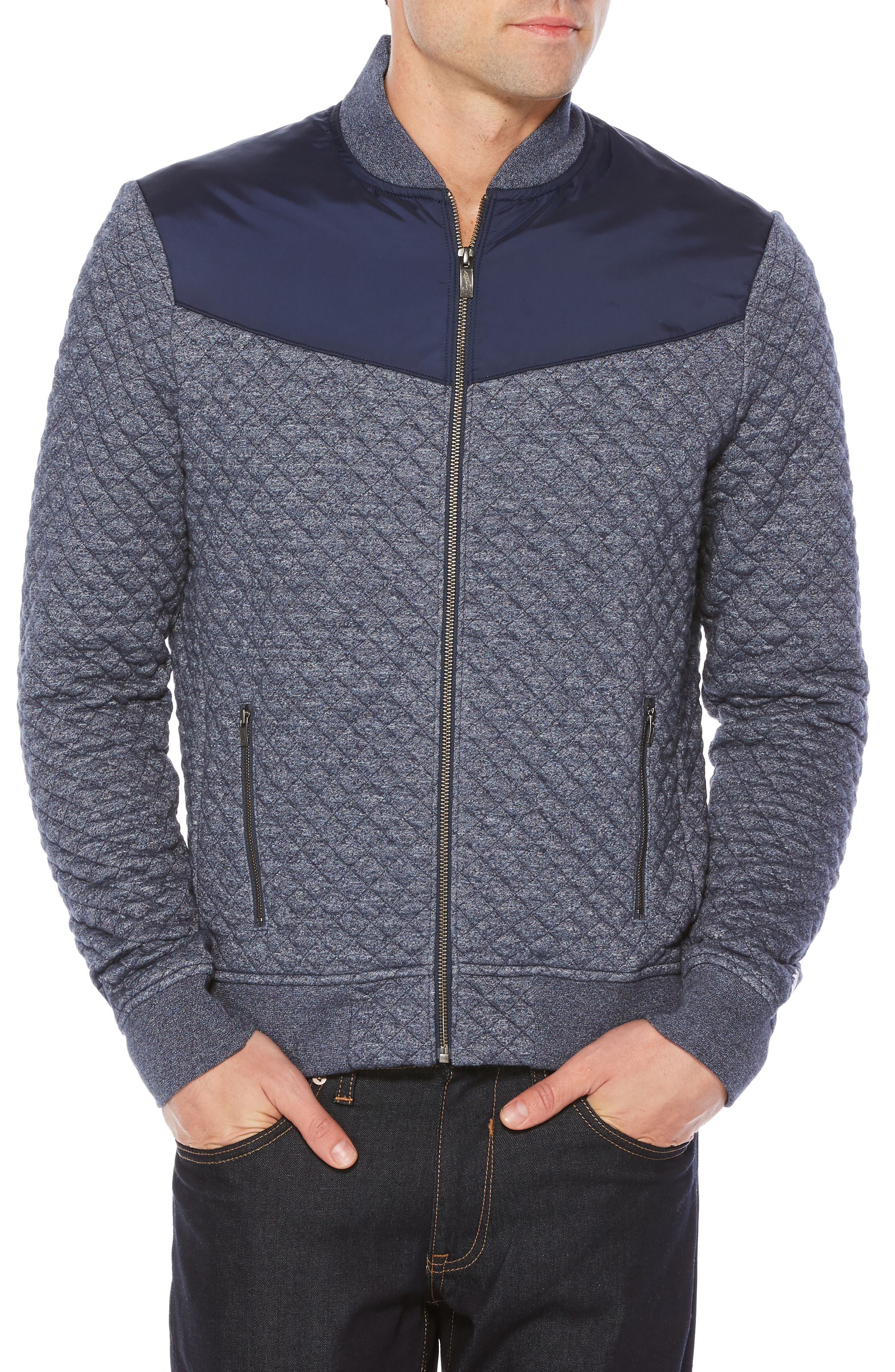 Quilted Track Jacket,                         Main,                         color, Dark Sapphire