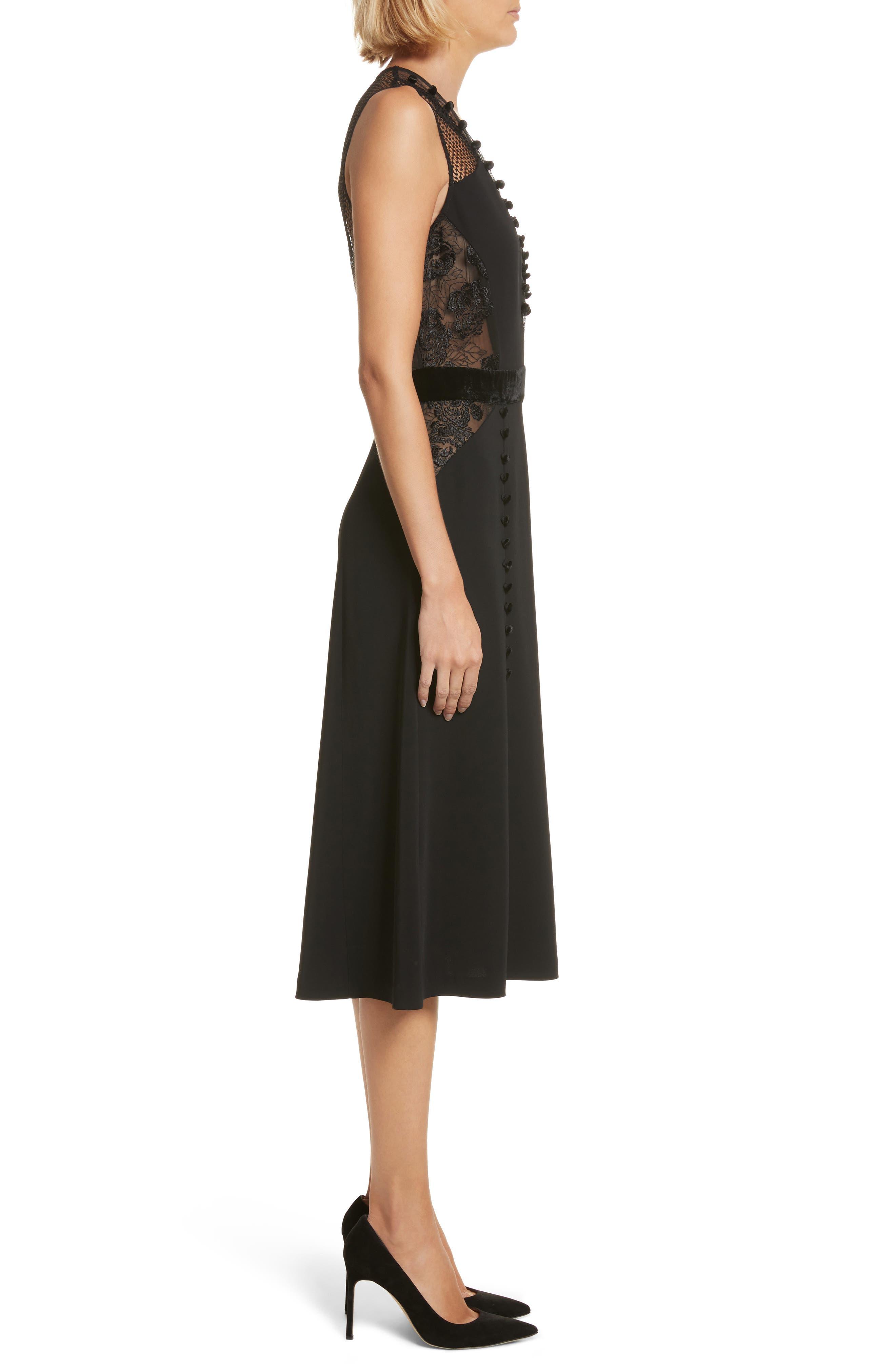 Harlow Velvet Button Dress,                             Alternate thumbnail 4, color,                             Black