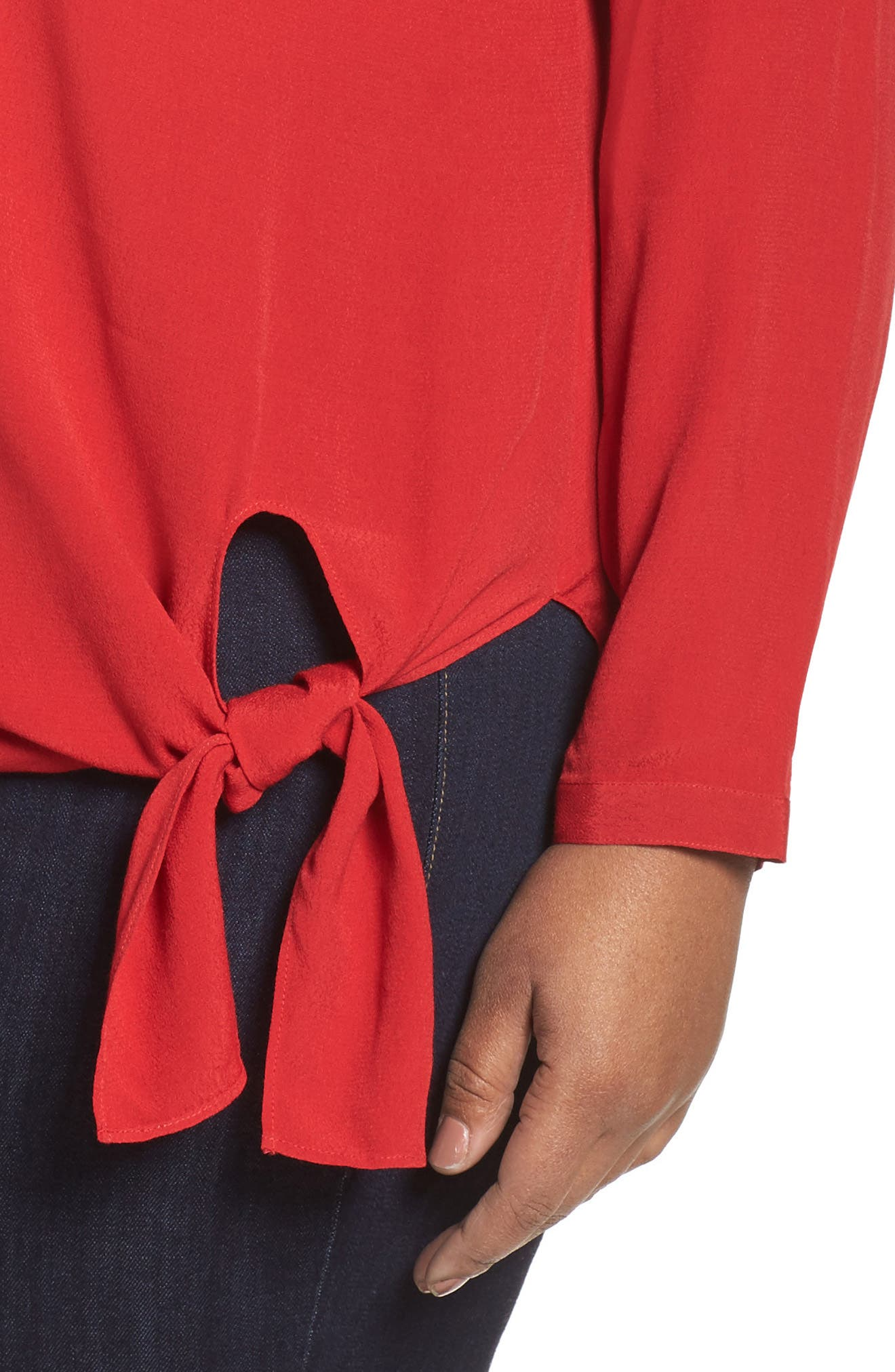 Side Tie Blouse,                             Alternate thumbnail 4, color,                             Red Sage