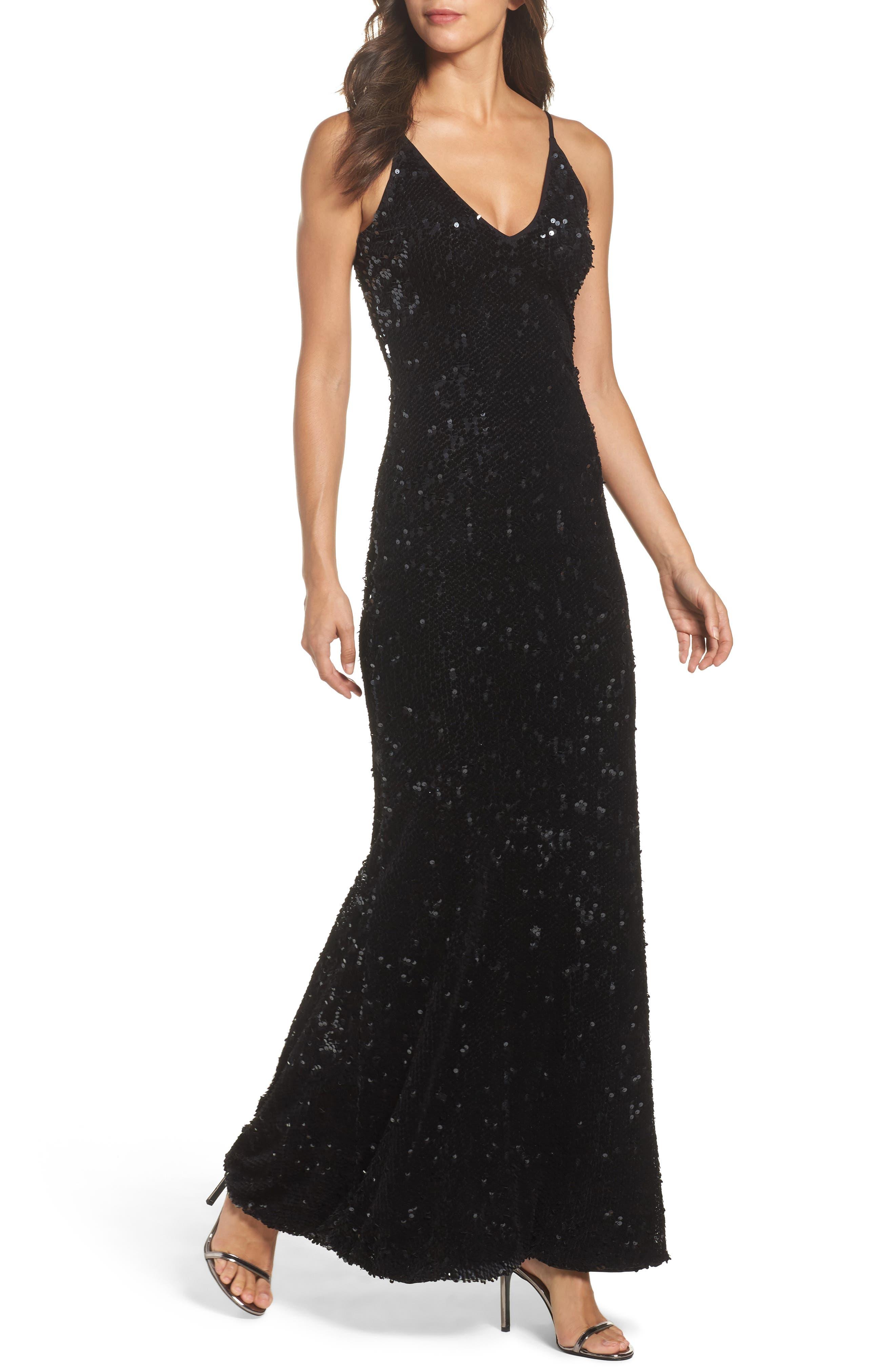 Vanessa Velvet Sequin Gown,                             Main thumbnail 1, color,                             Black
