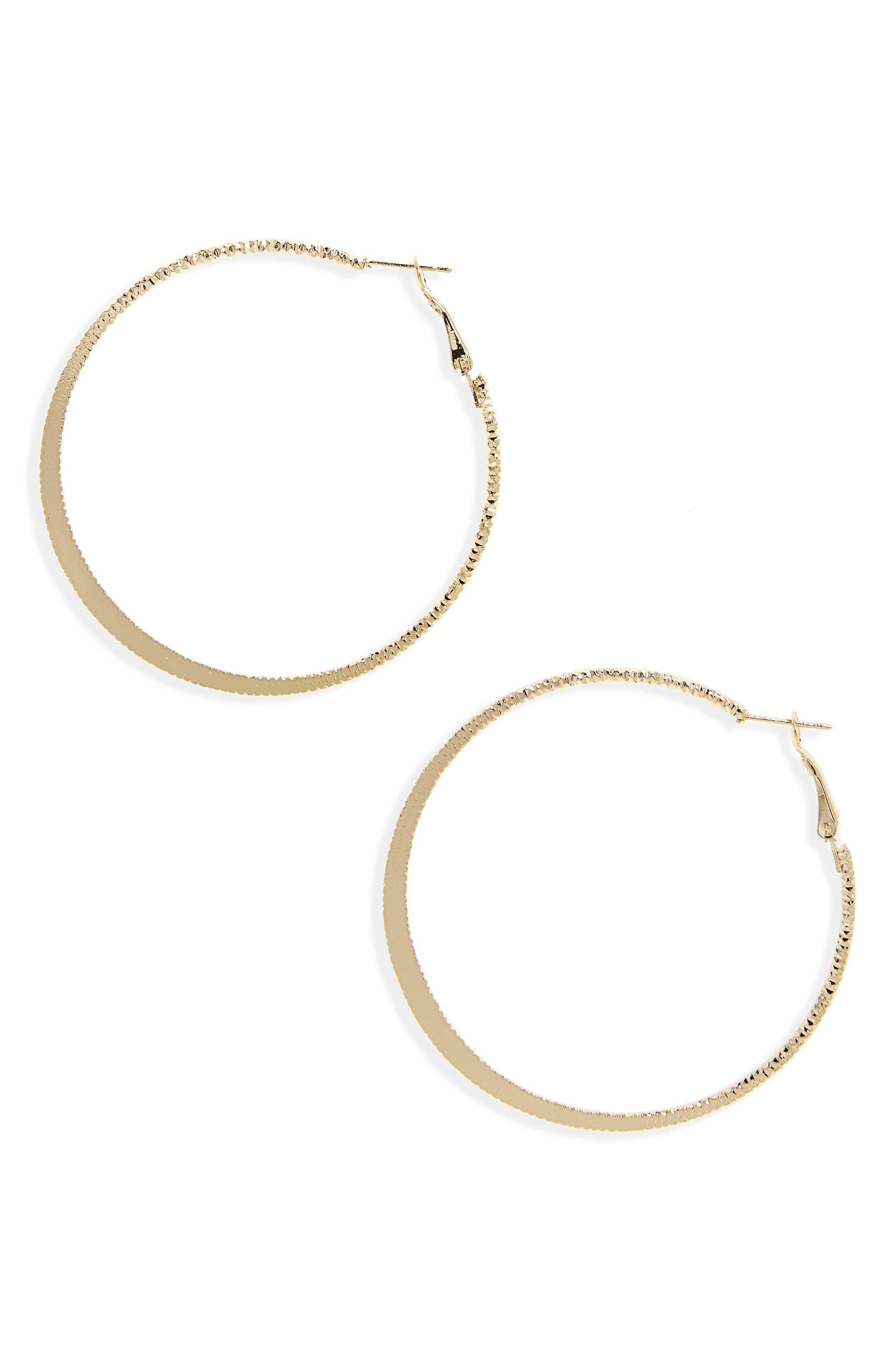 BP. Textured Flat Hoop Earrings
