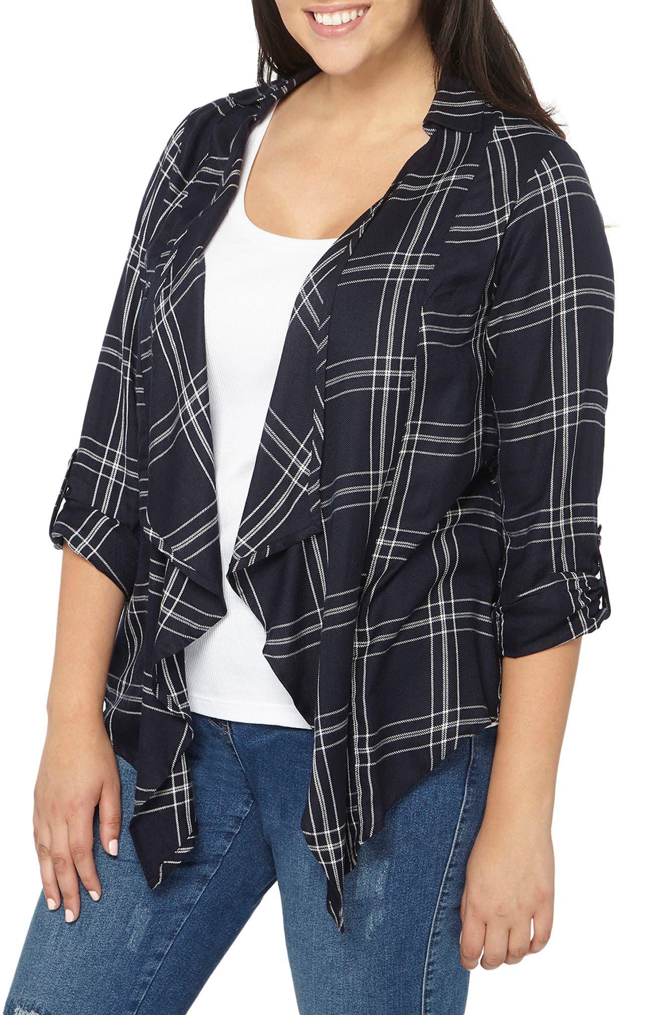 Main Image - Evans Check Plaid Jacket (Plus Size)
