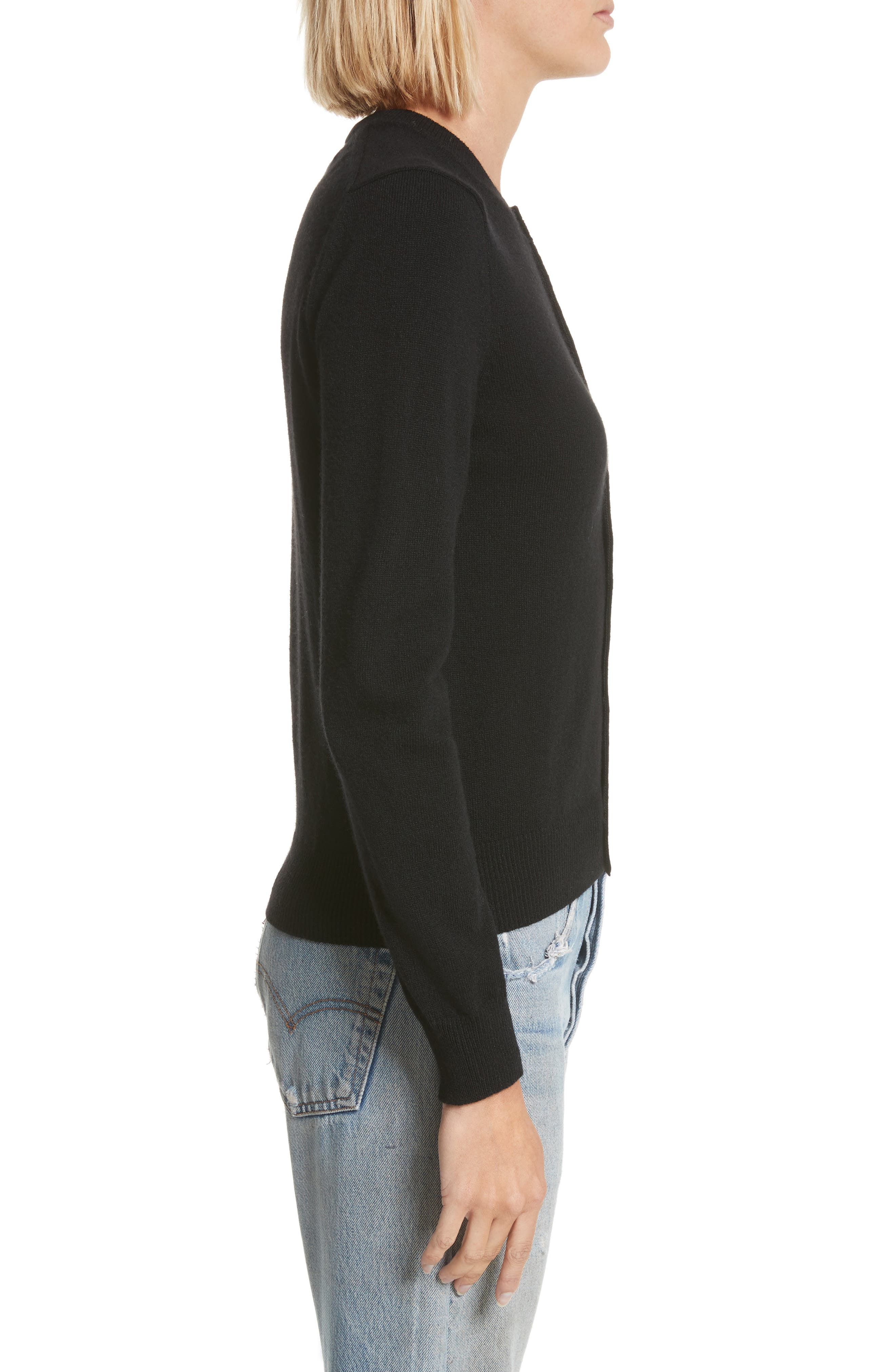 PLAY Gold Heart Patch Wool Cardigan,                             Alternate thumbnail 3, color,                             Black