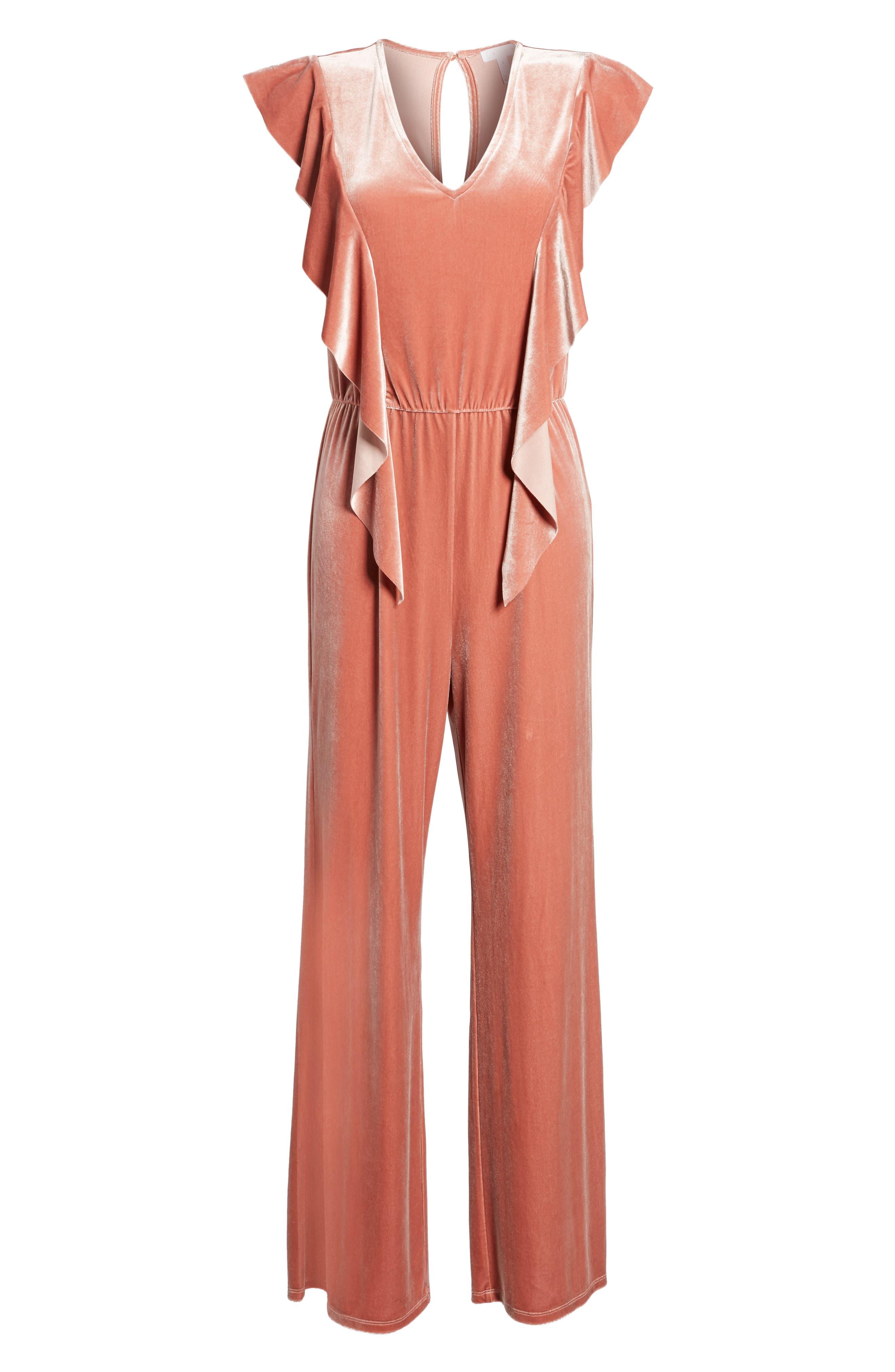 Ruffle Velour Jumpsuit,                             Alternate thumbnail 6, color,                             Coral Cedar