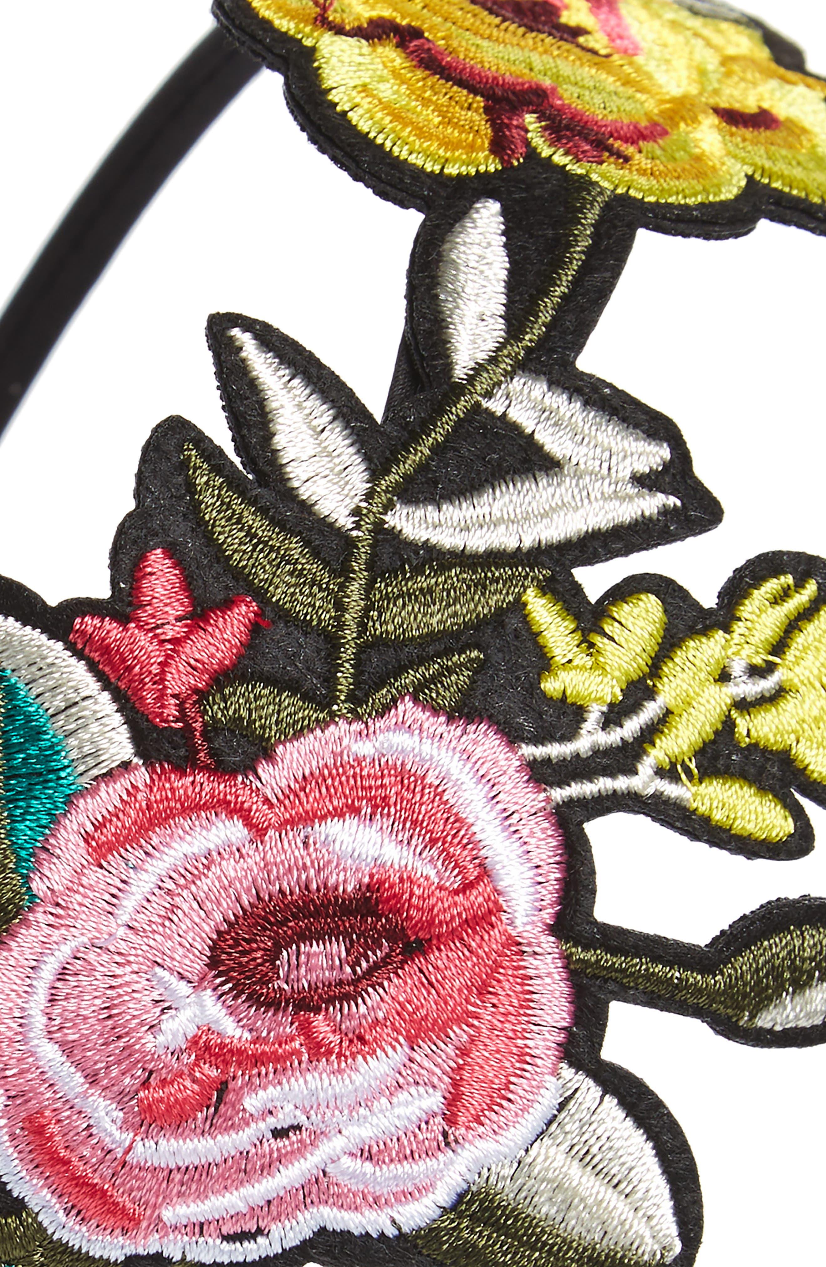 Alternate Image 2  - Cara Embroidered Flower Headband (Girls)