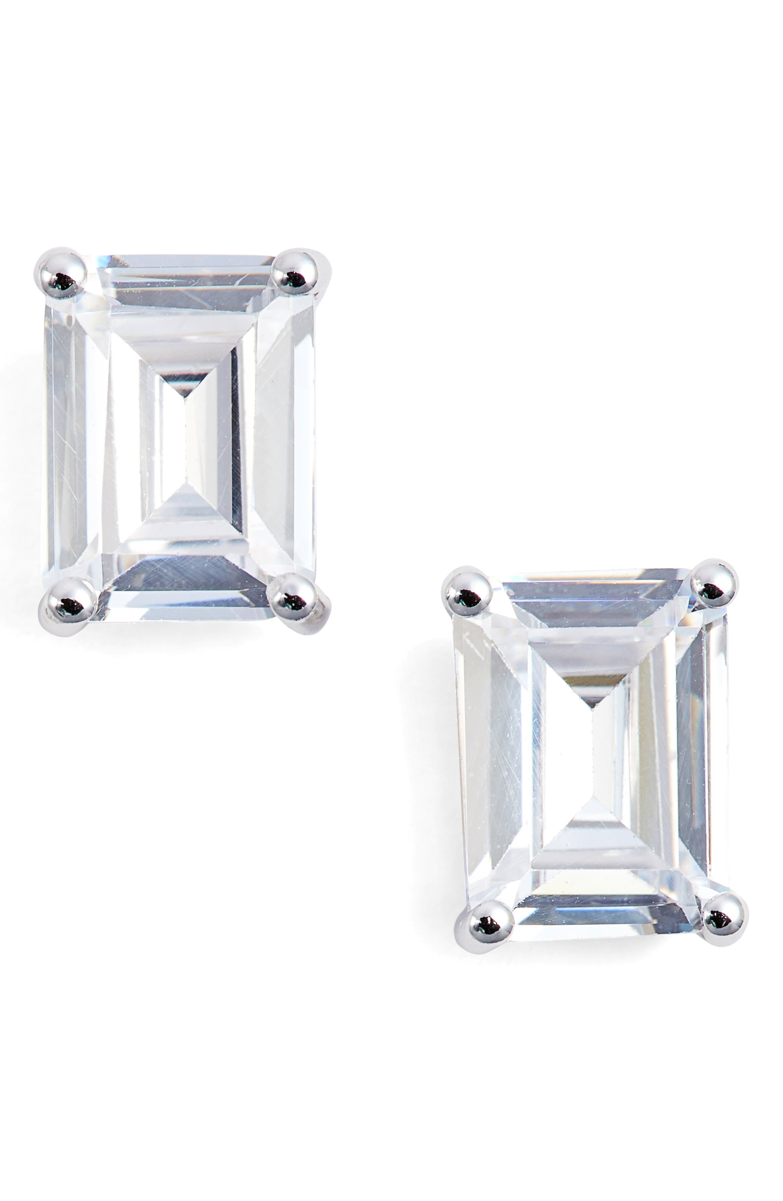 Emerald Cut 3ct tw Cubic Zirconia Stud Earrings,                         Main,                         color, Platinum