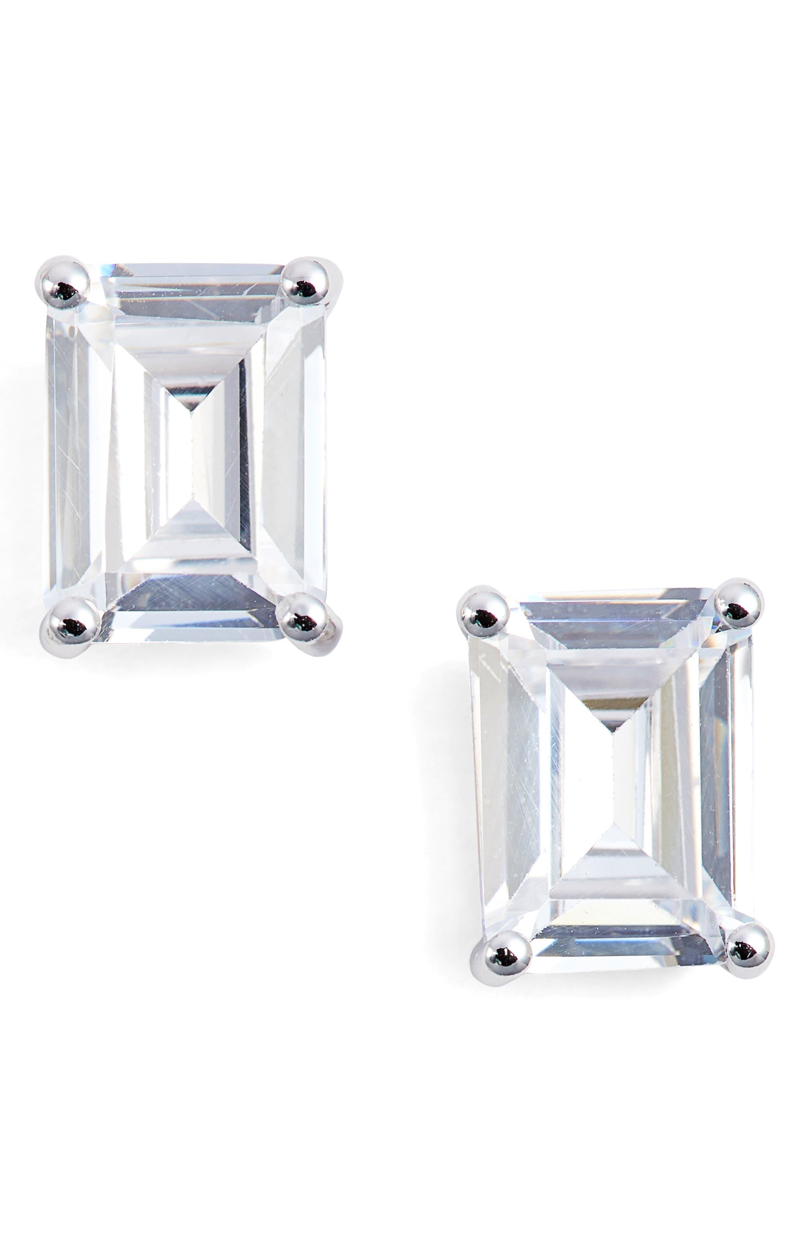 Nordstrom Emerald Cut 3ct tw Cubic Zirconia Stud Earrings