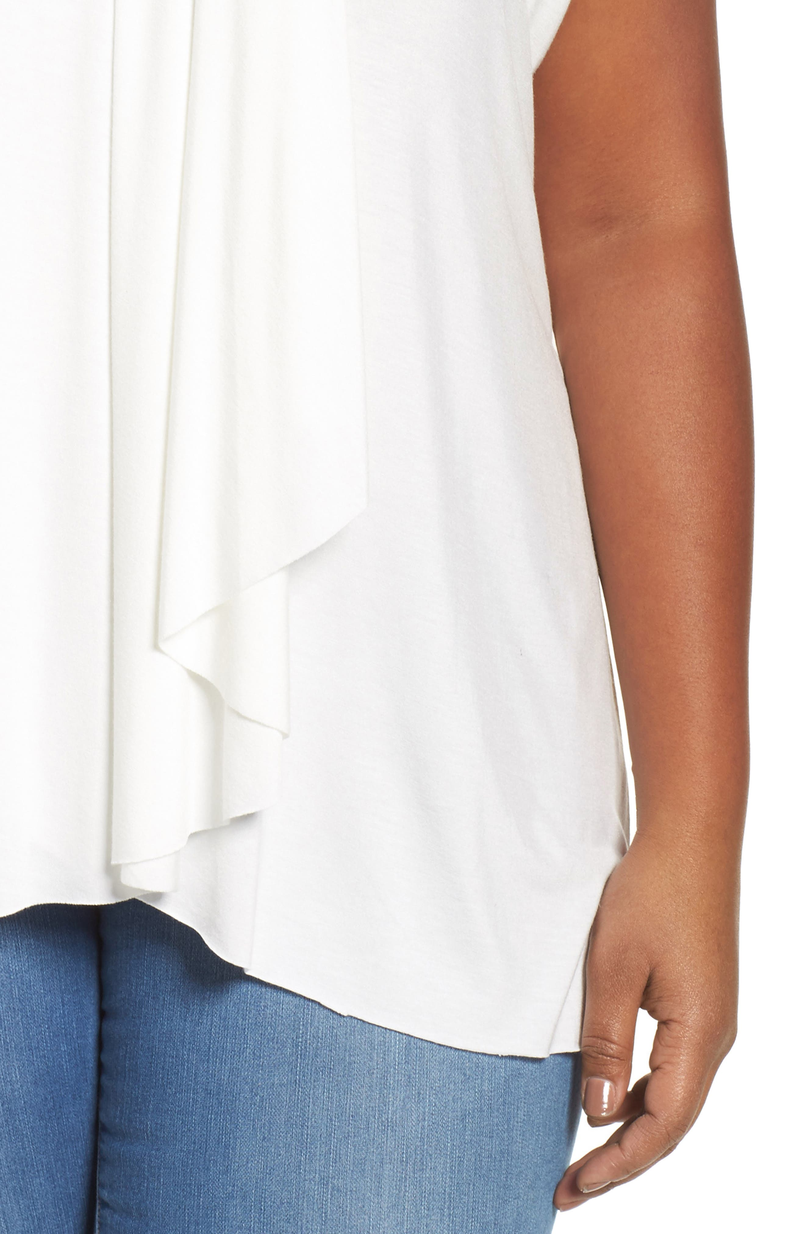 Pleat Front Tee,                             Alternate thumbnail 4, color,                             Ivory Cloud