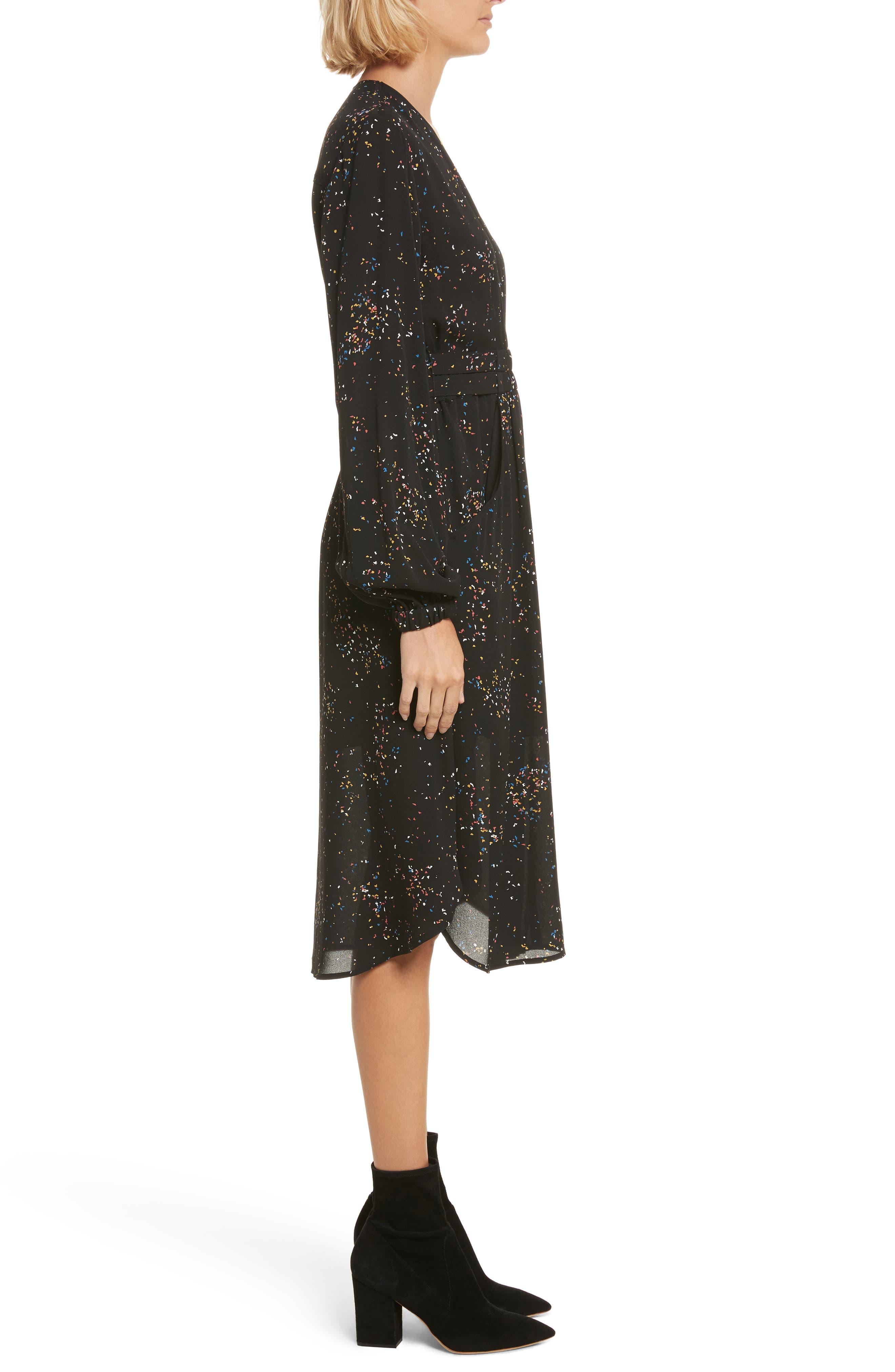 Samantha Print Silk Dress,                             Alternate thumbnail 3, color,                             Black Multi