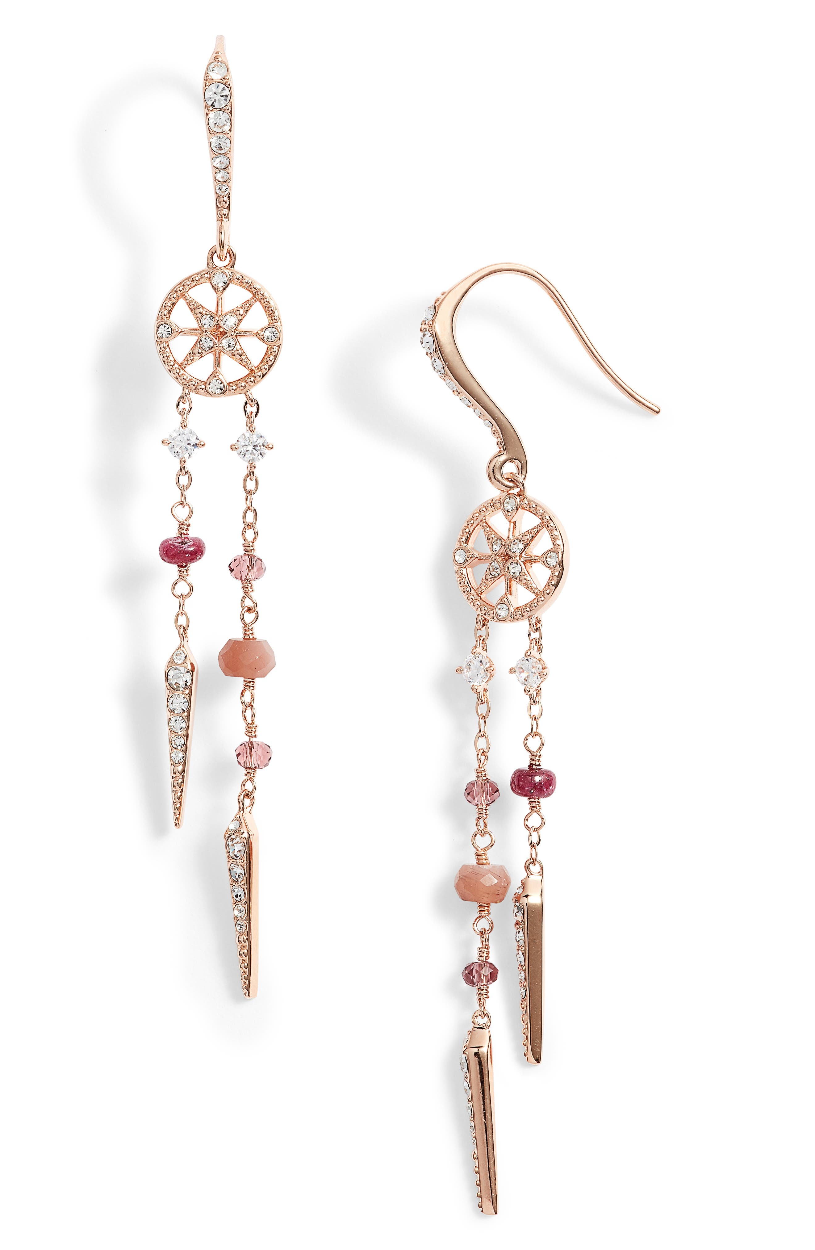 Crystal & Semiprecious Stone Drop Earrings,                         Main,                         color, Ruby/ Choco/ Pink