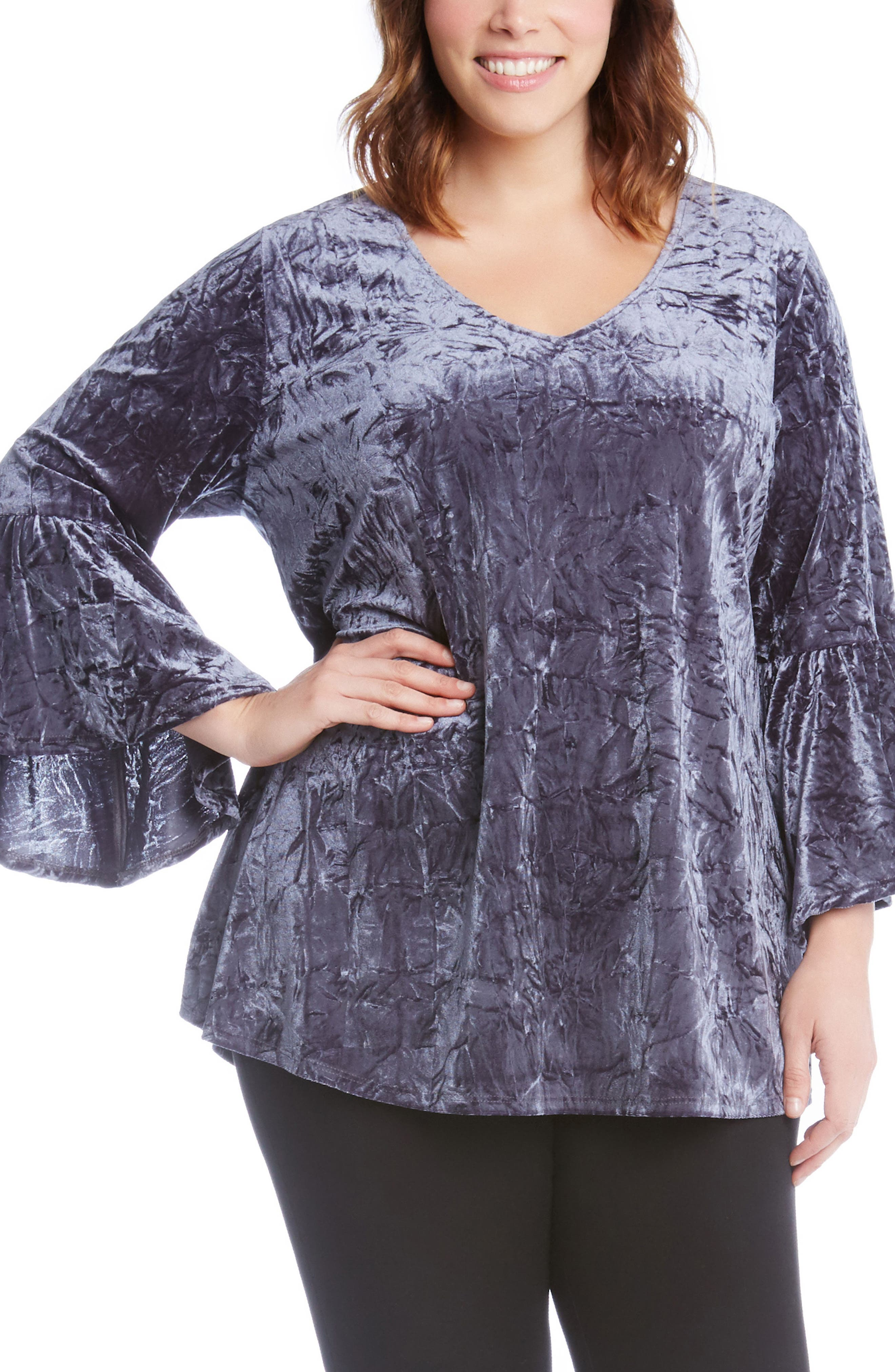 Bell Sleeve Crushed Velvet Top,                             Main thumbnail 1, color,                             Gray