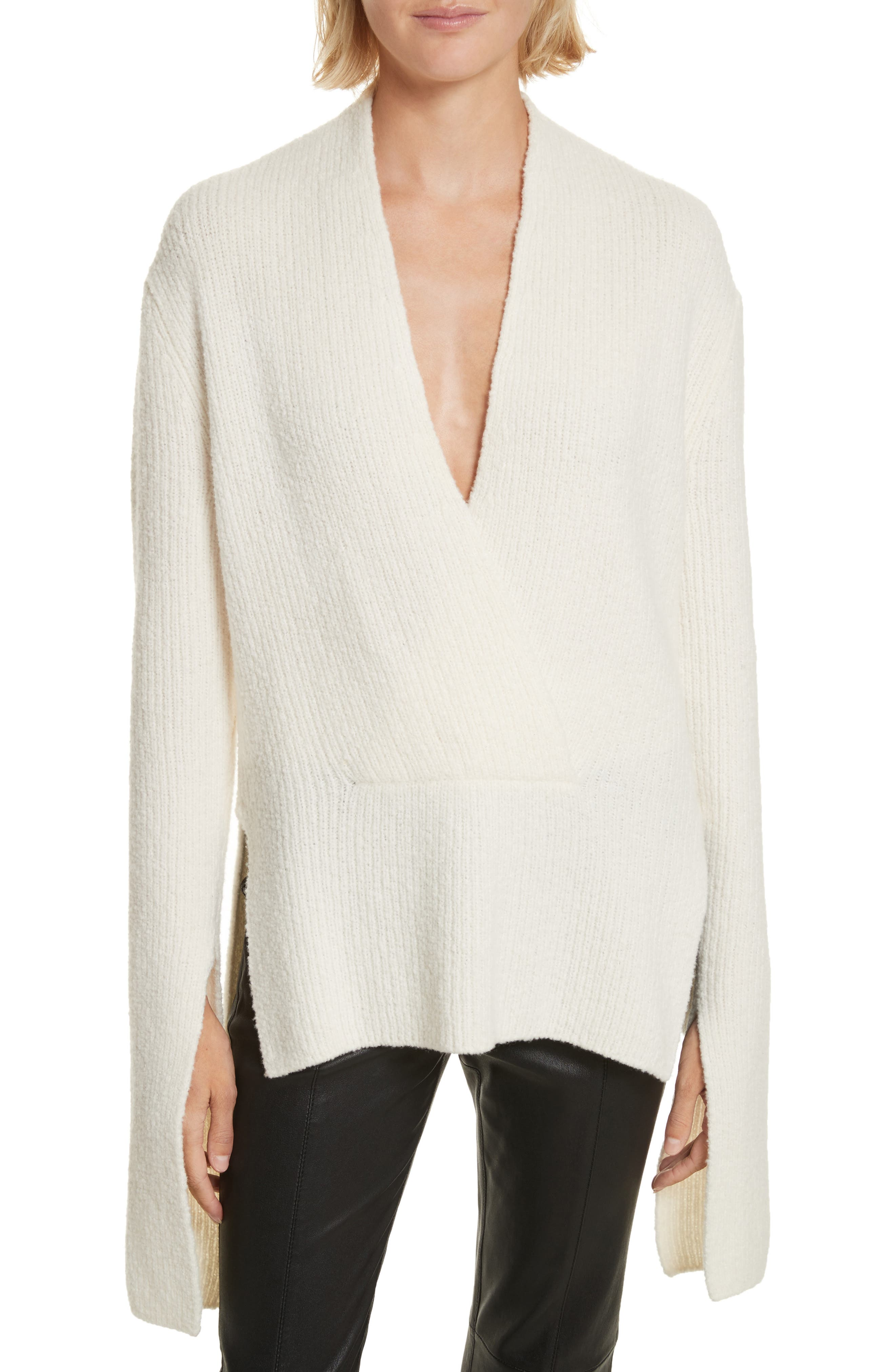 Arlin Wool & Silk Sweater,                             Main thumbnail 1, color,                             White