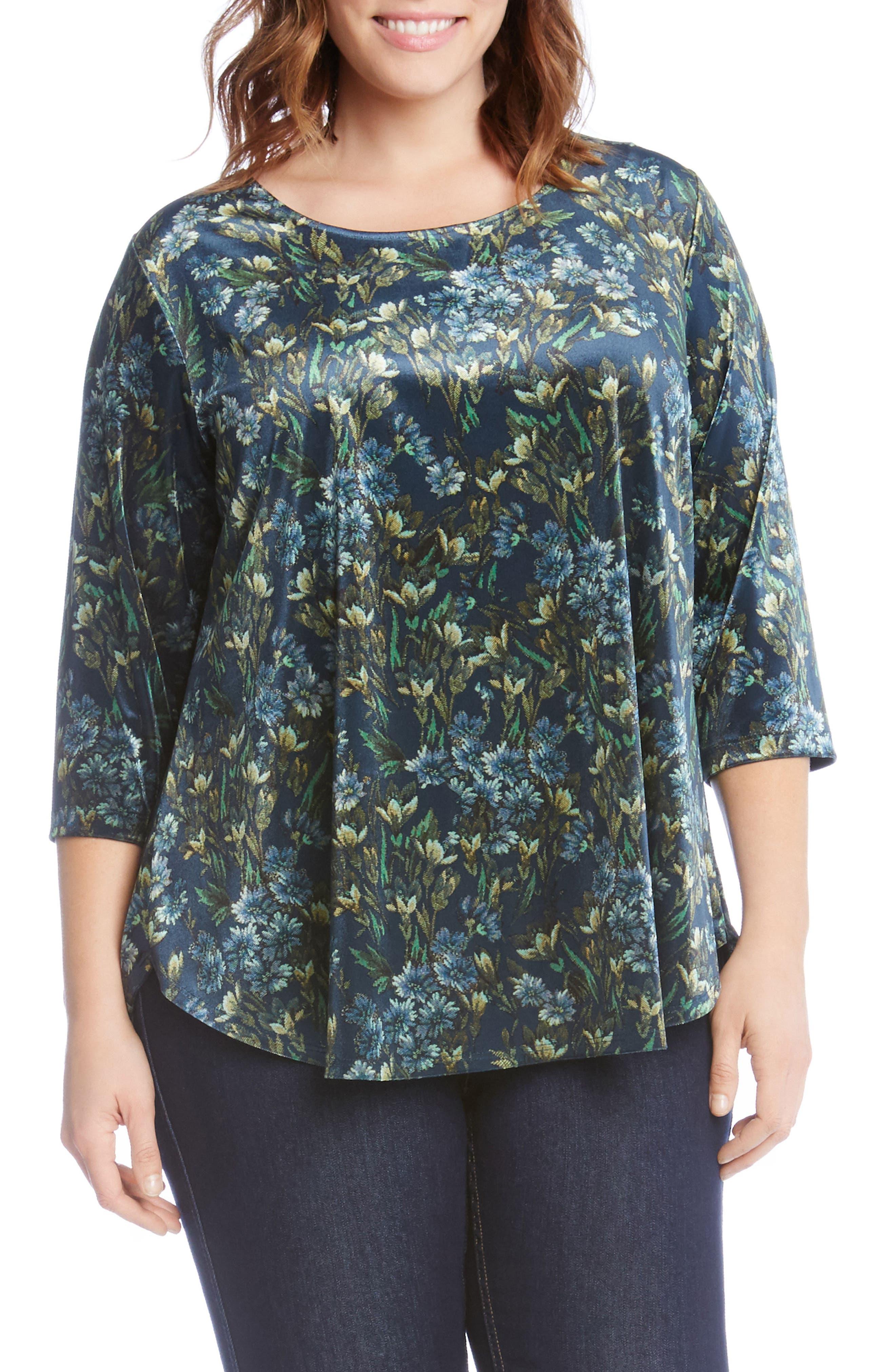 Karen Kane Floral Velvet Top (Plus Size)